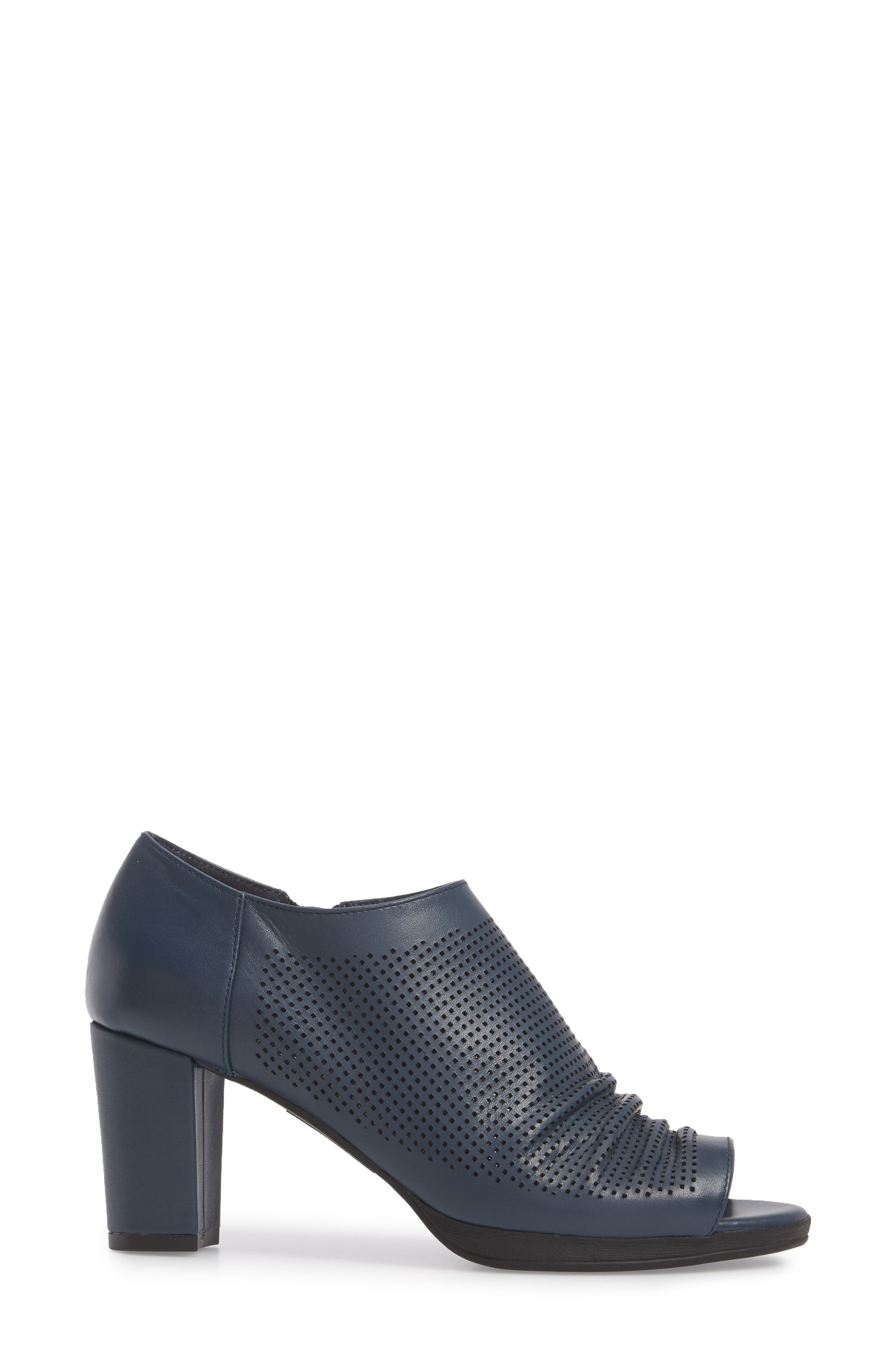 Liza Open Toe Bootie,                             Alternate thumbnail 3, color,                             Navy Leather