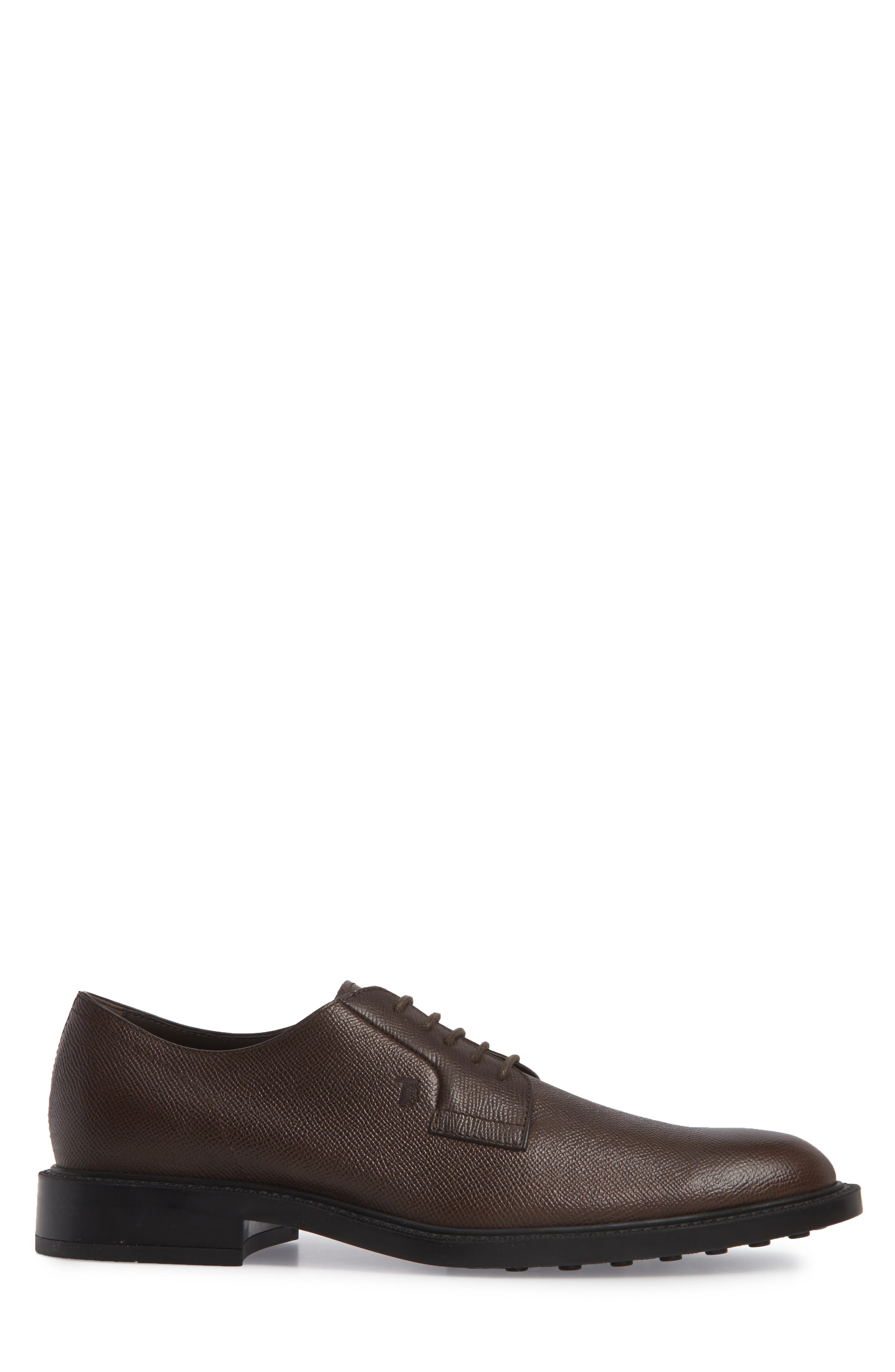 Clean Plain Toe Derby,                             Alternate thumbnail 3, color,                             Brown Textured Leather