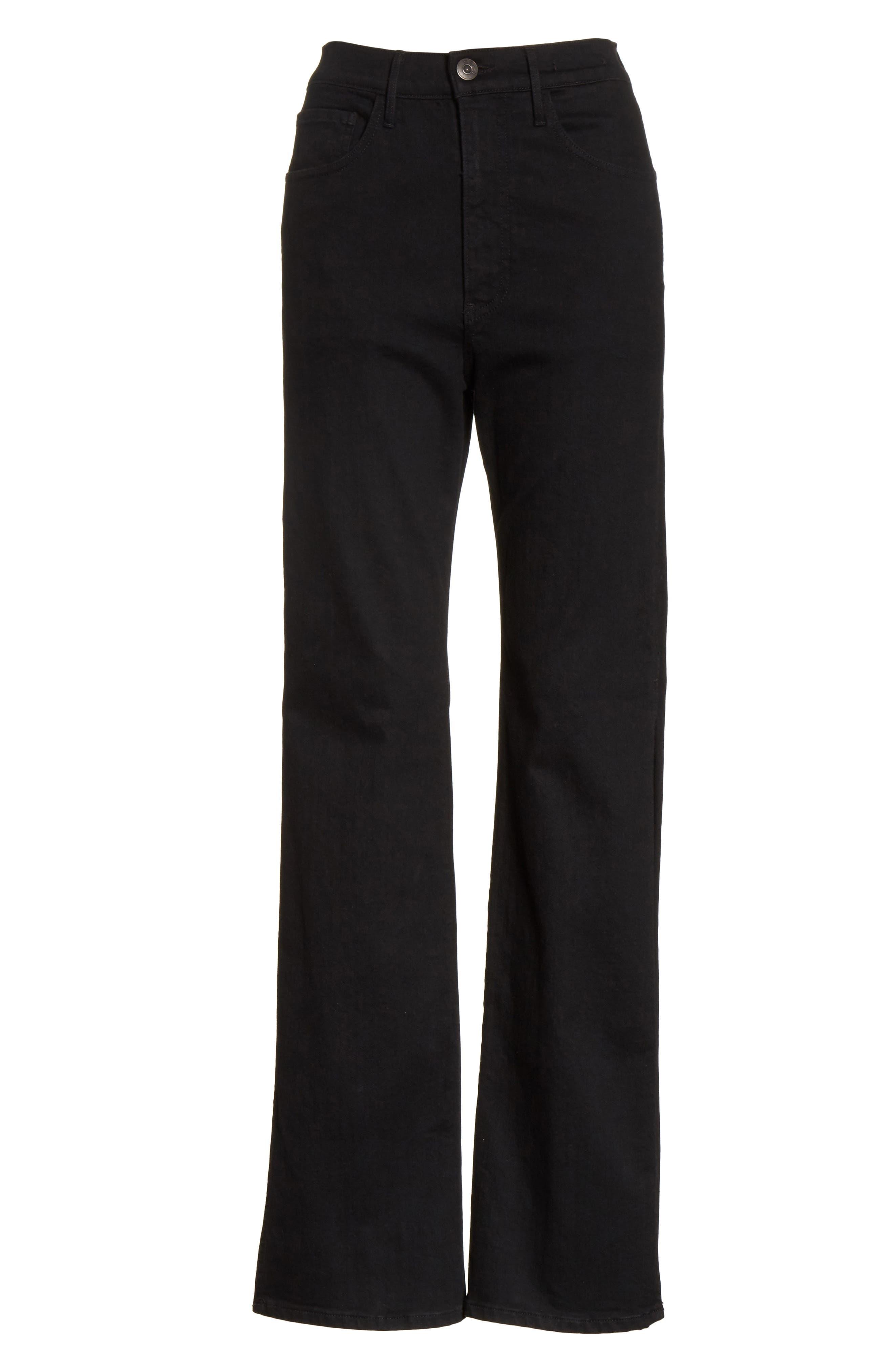W4 Adeline High Waist Split Flare Jeans,                             Alternate thumbnail 6, color,                             Black No 1