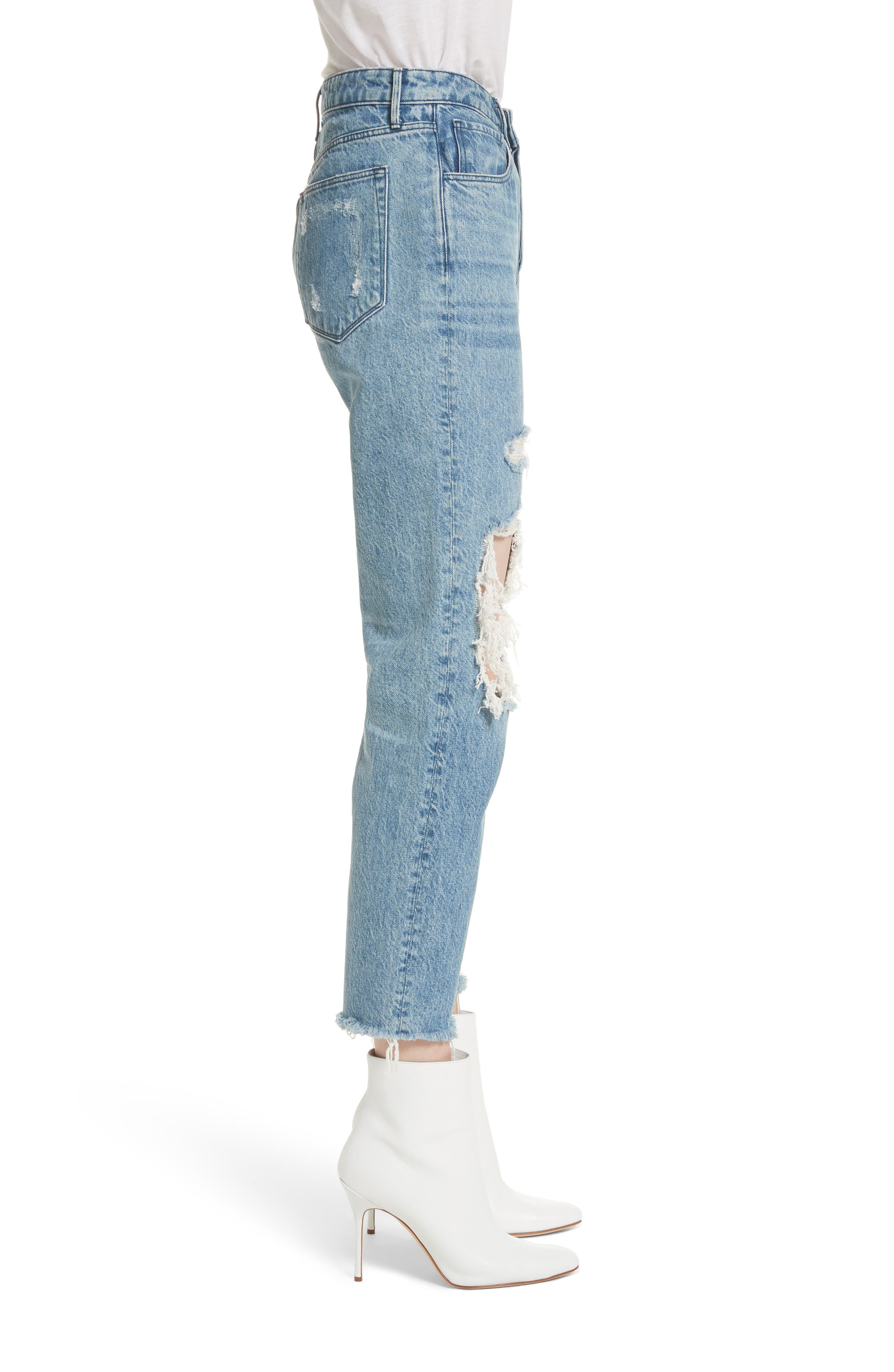 W3 Higher Ground Ripped Crop Boyfriend Jeans,                             Alternate thumbnail 3, color,                             Clutch