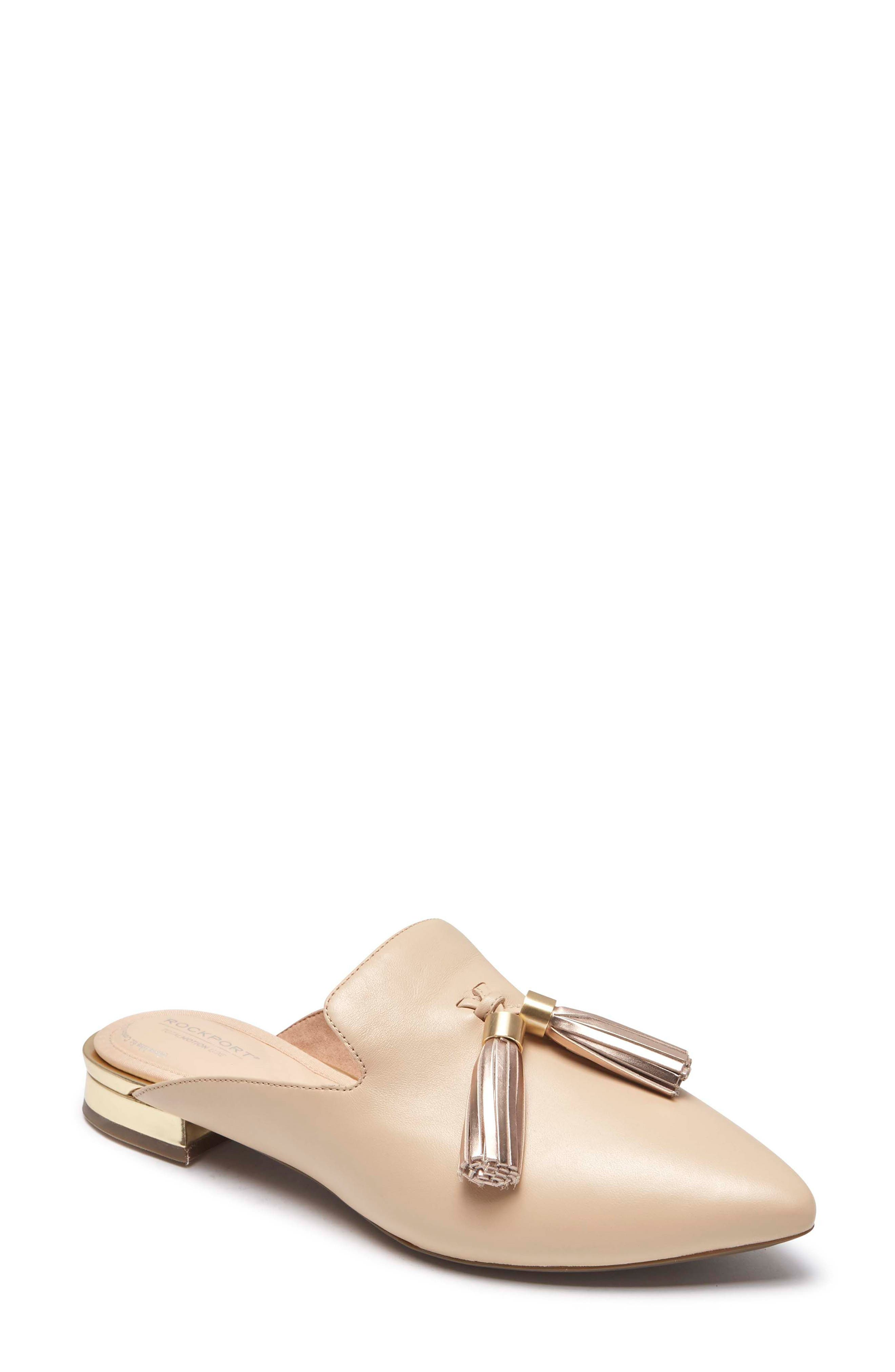 Total Motion Zuly Tassel Mule,                         Main,                         color, Latte Leather