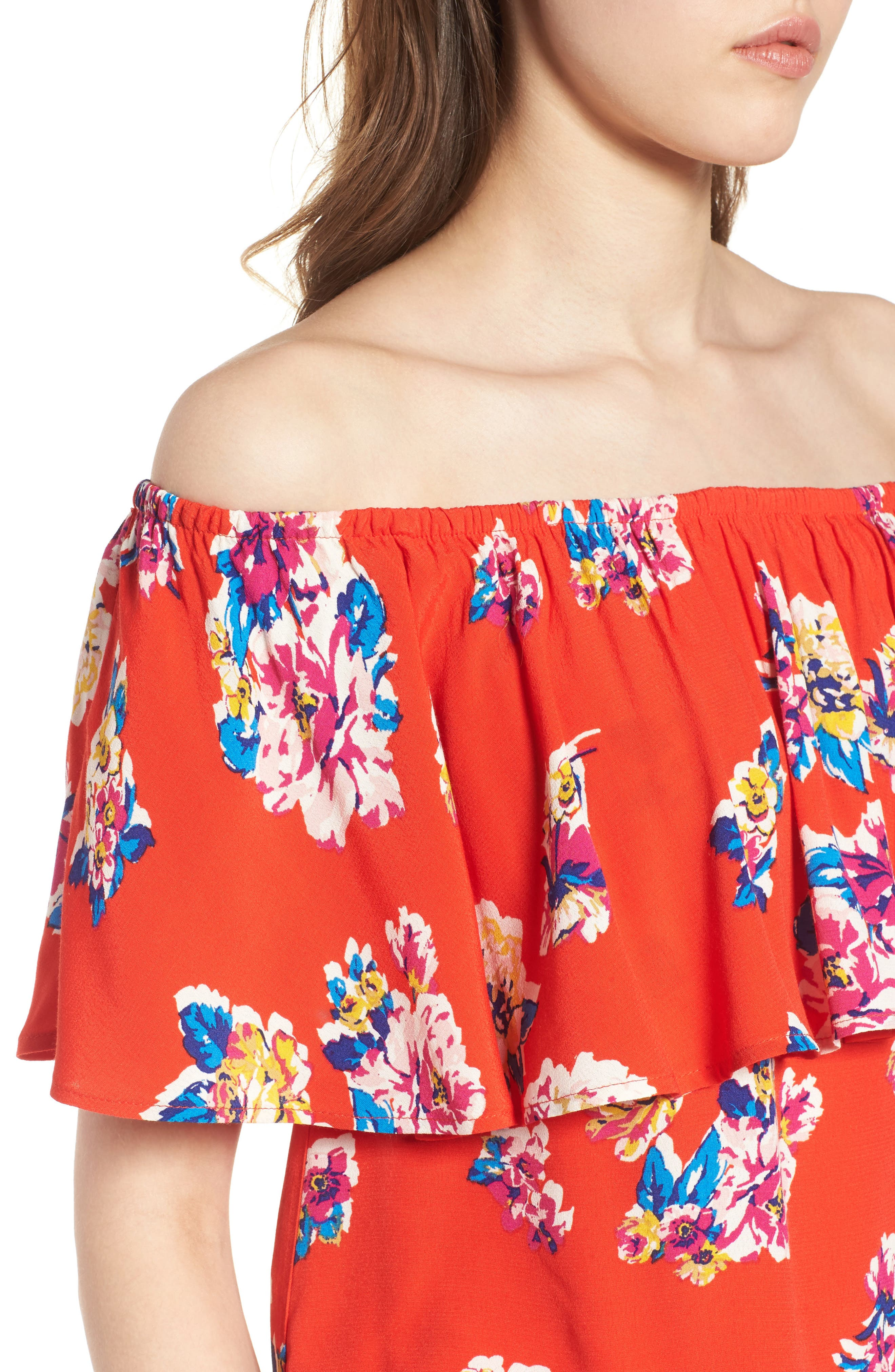 Print Ruffle Off the Shoulder Top,                             Alternate thumbnail 5, color,                             Red Fiery Bold Bloom