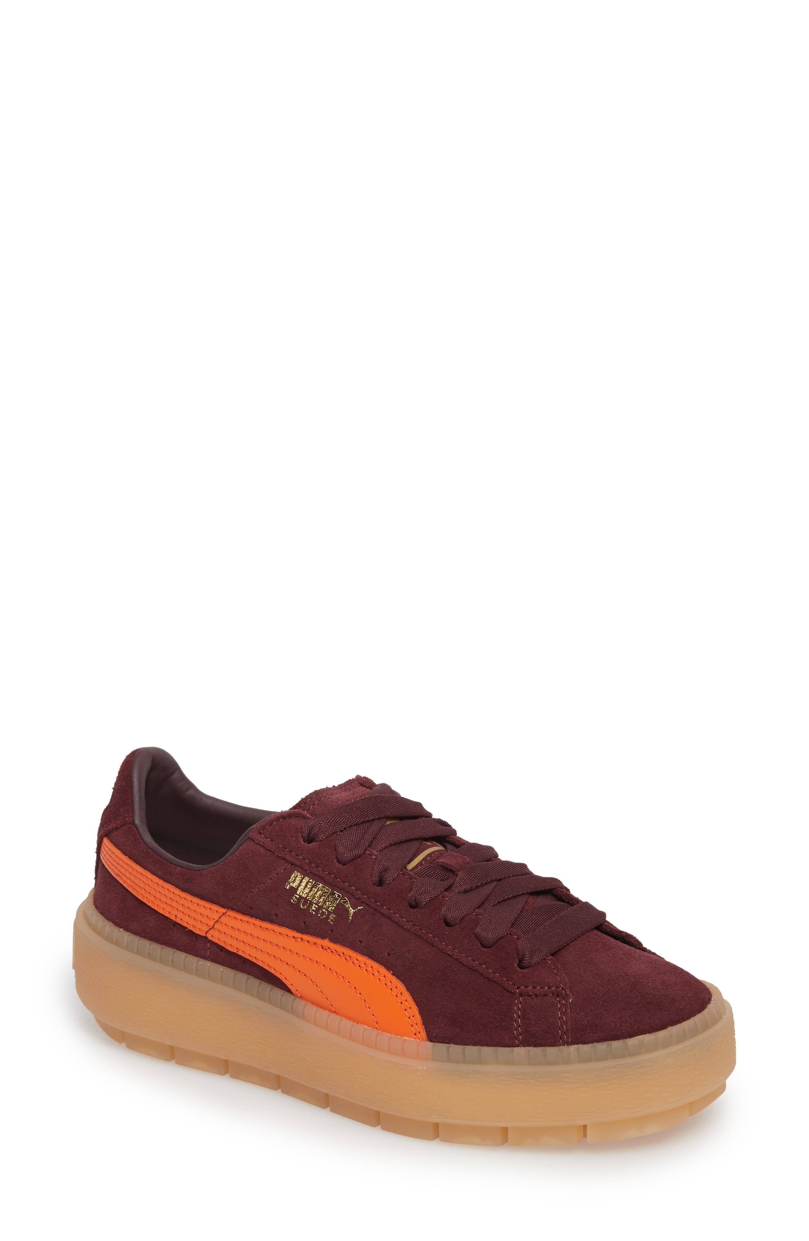 puma shoes suede burgundy skirt and tank