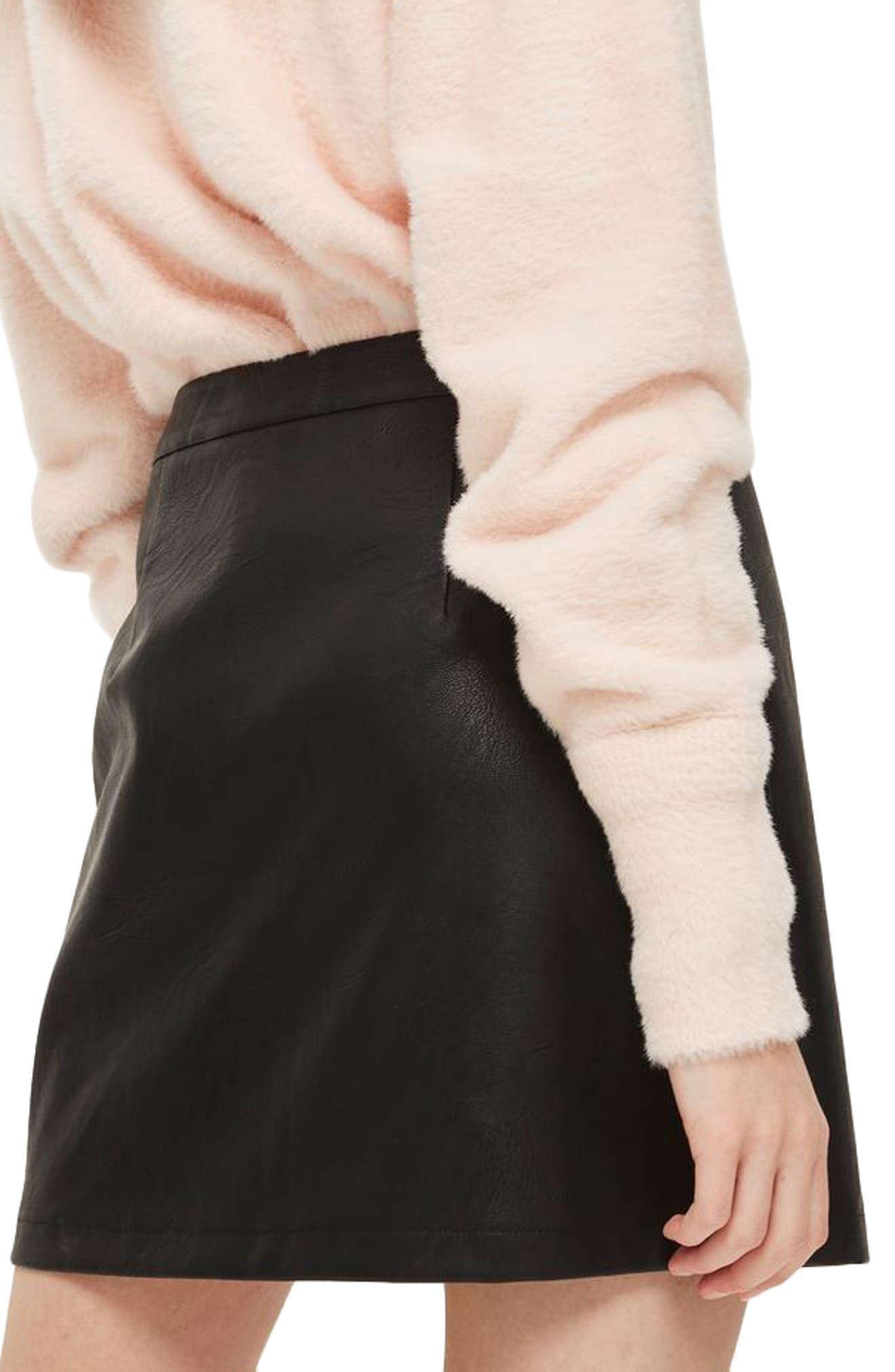 Zip Front Faux Leather Miniskirt,                             Alternate thumbnail 2, color,                             Black