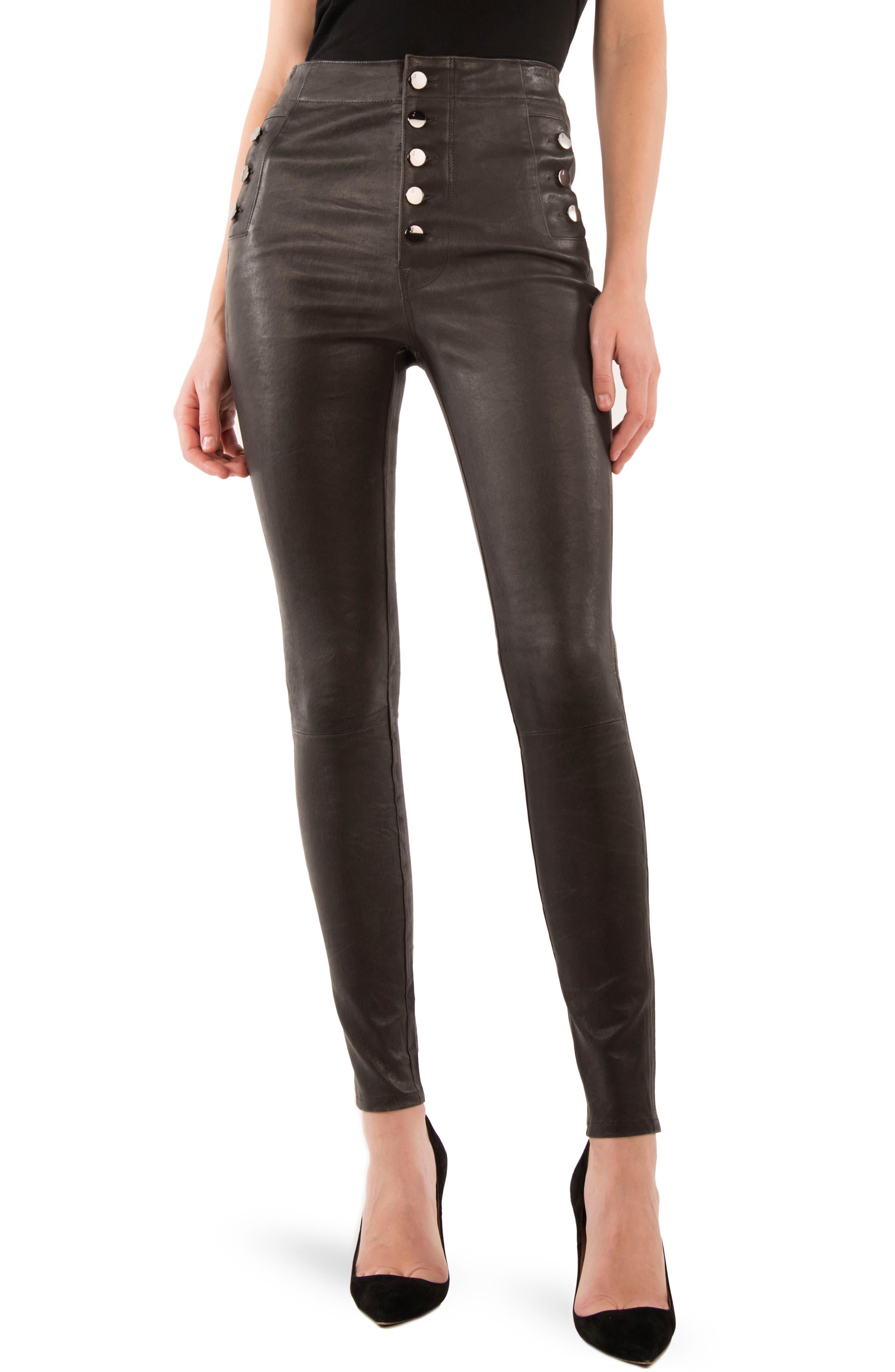 Natasha High Waist Skinny Leather Pants,                         Main,                         color, Dark Platinum