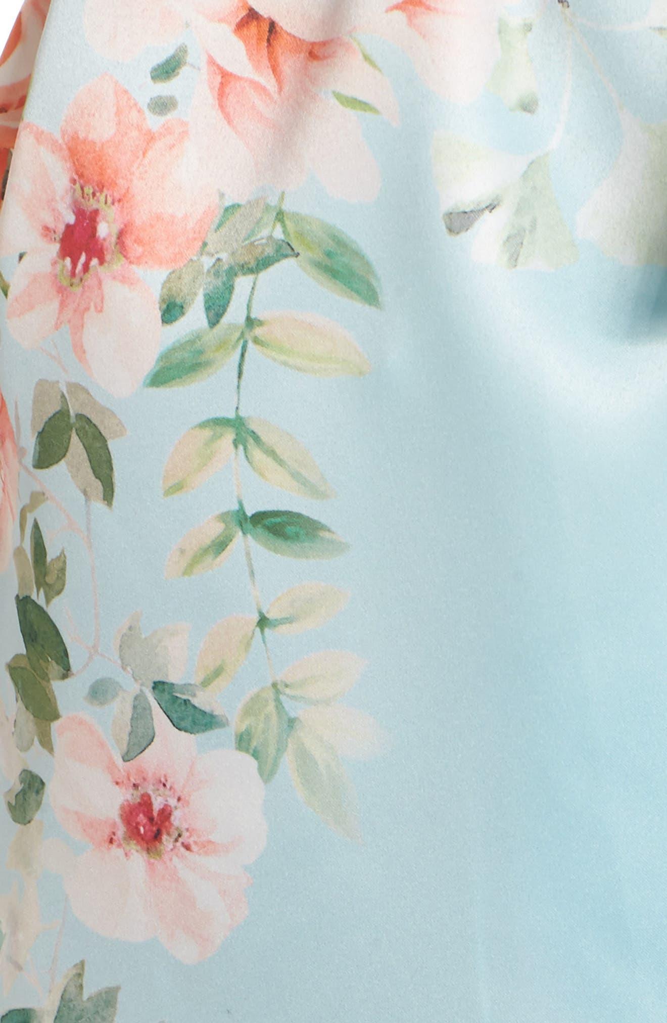 Renata Short Satin Robe,                             Alternate thumbnail 6, color,                             Bridal Blue