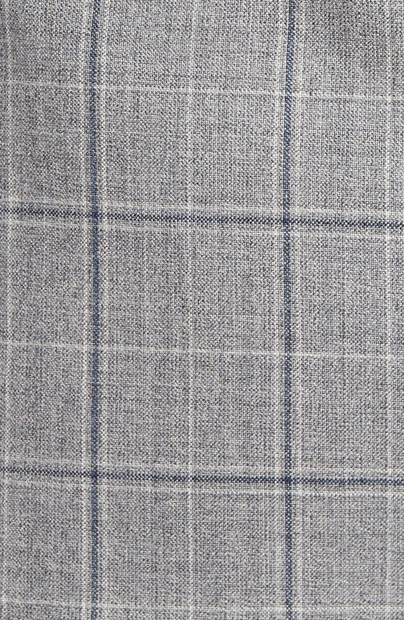 Jay Trim Fit Plaid Wool Sport Coat,                             Alternate thumbnail 5, color,                             Light Grey
