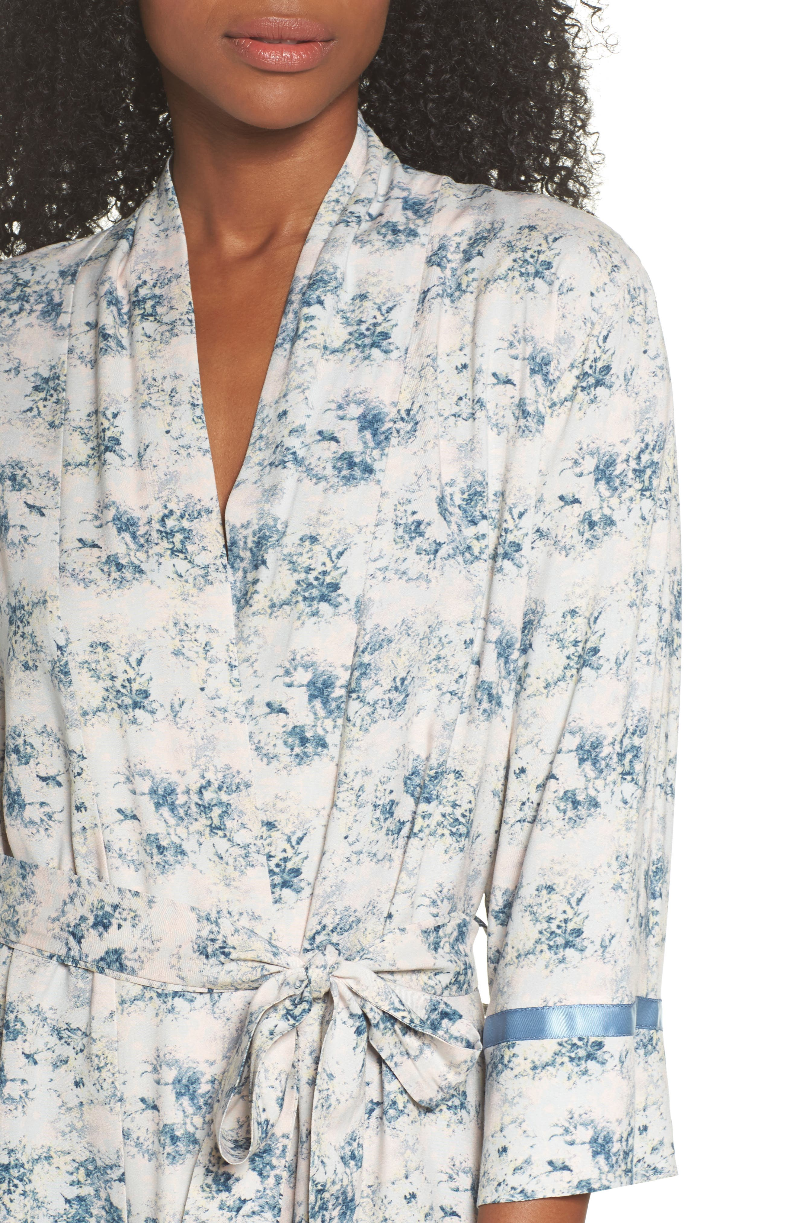 Floral Print Robe,                             Alternate thumbnail 5, color,                             Blue
