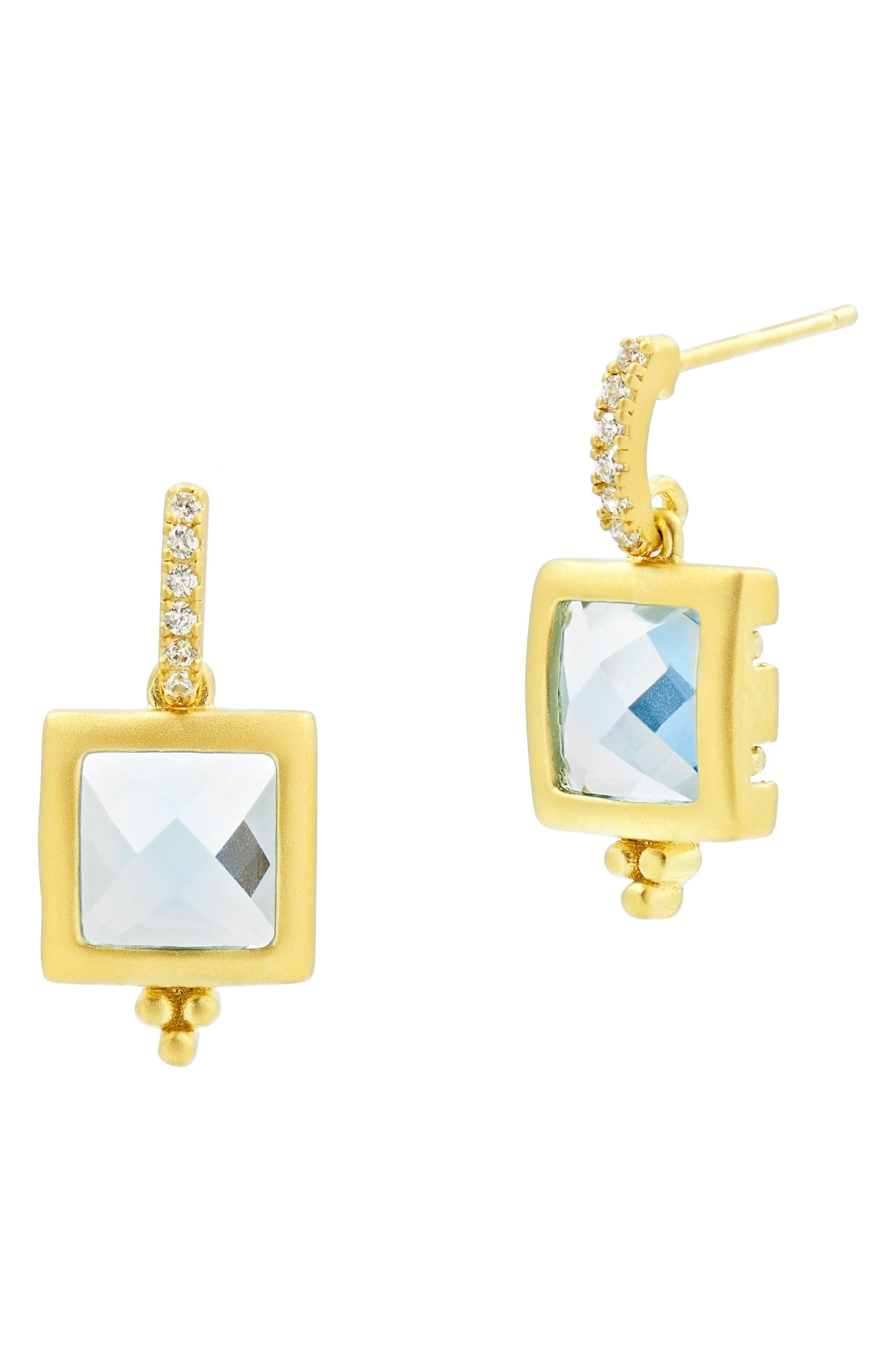 Ocean Azure Cubic Zirconia Stud Earrings,                             Main thumbnail 1, color,                             Gold/ Aqua