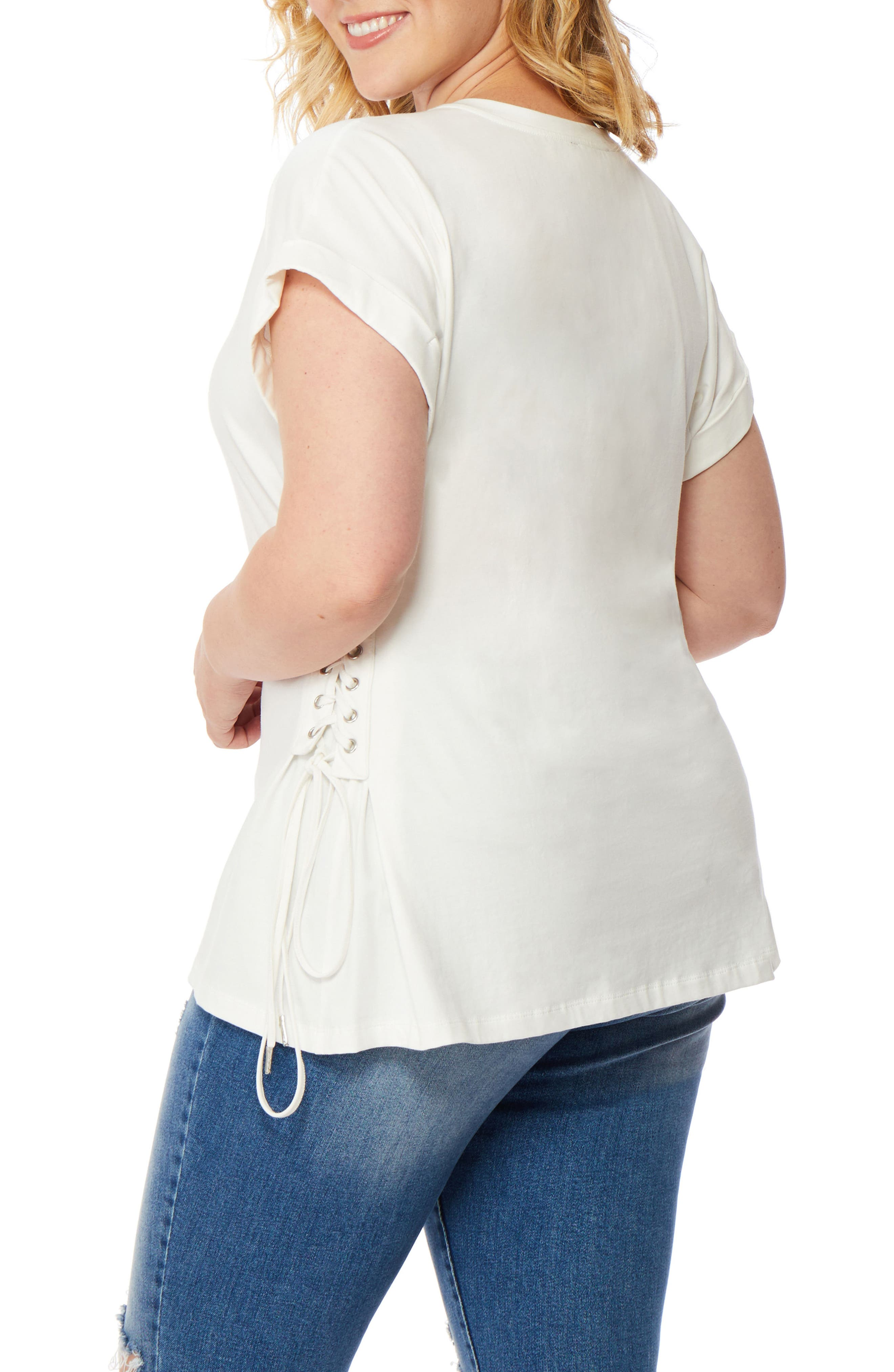 V-Neck Lace-Up Tee,                             Alternate thumbnail 3, color,                             White