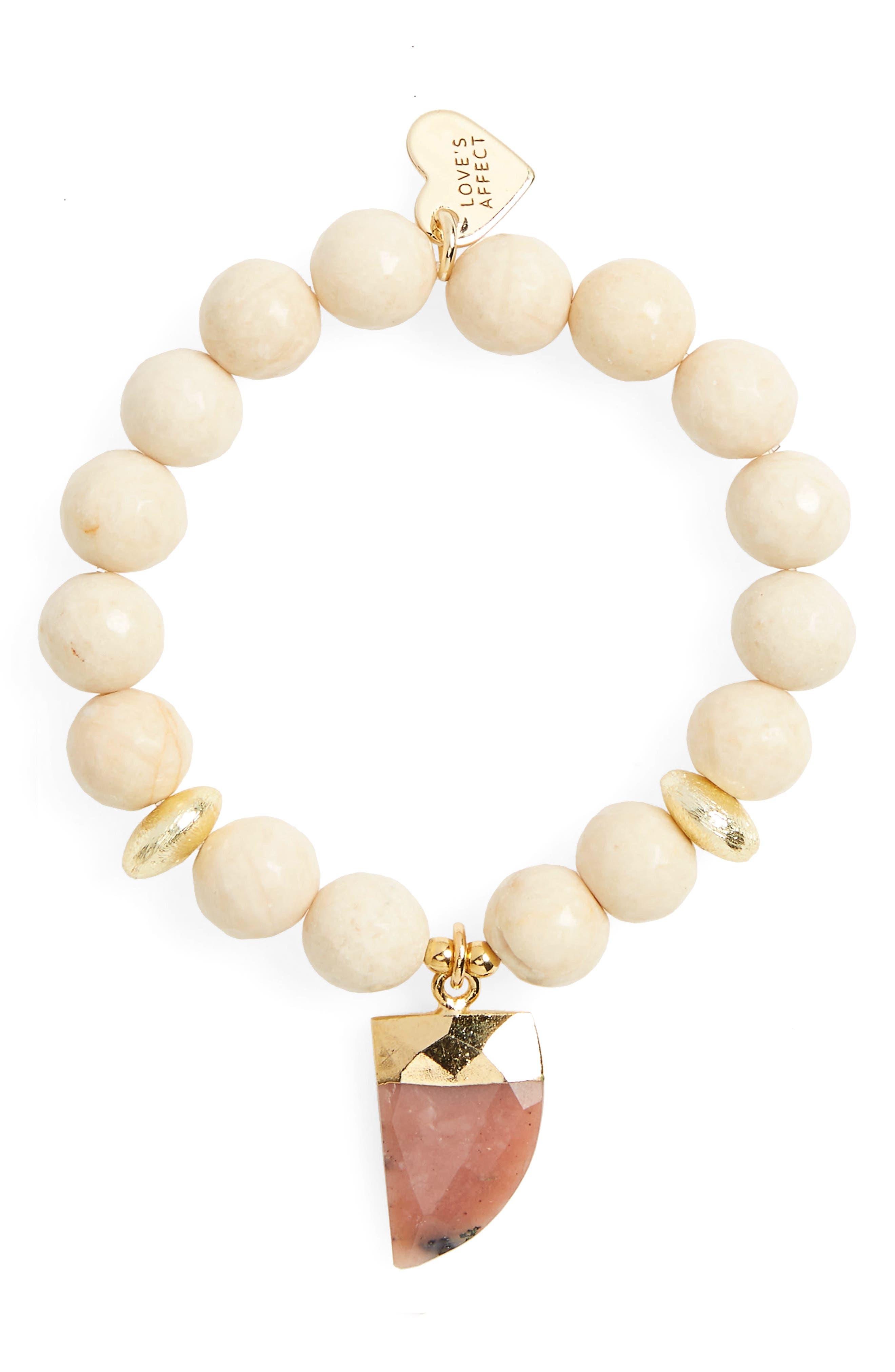 Love's Affect Asher Semiprecious Stretch Bracelet,                         Main,                         color, Beige