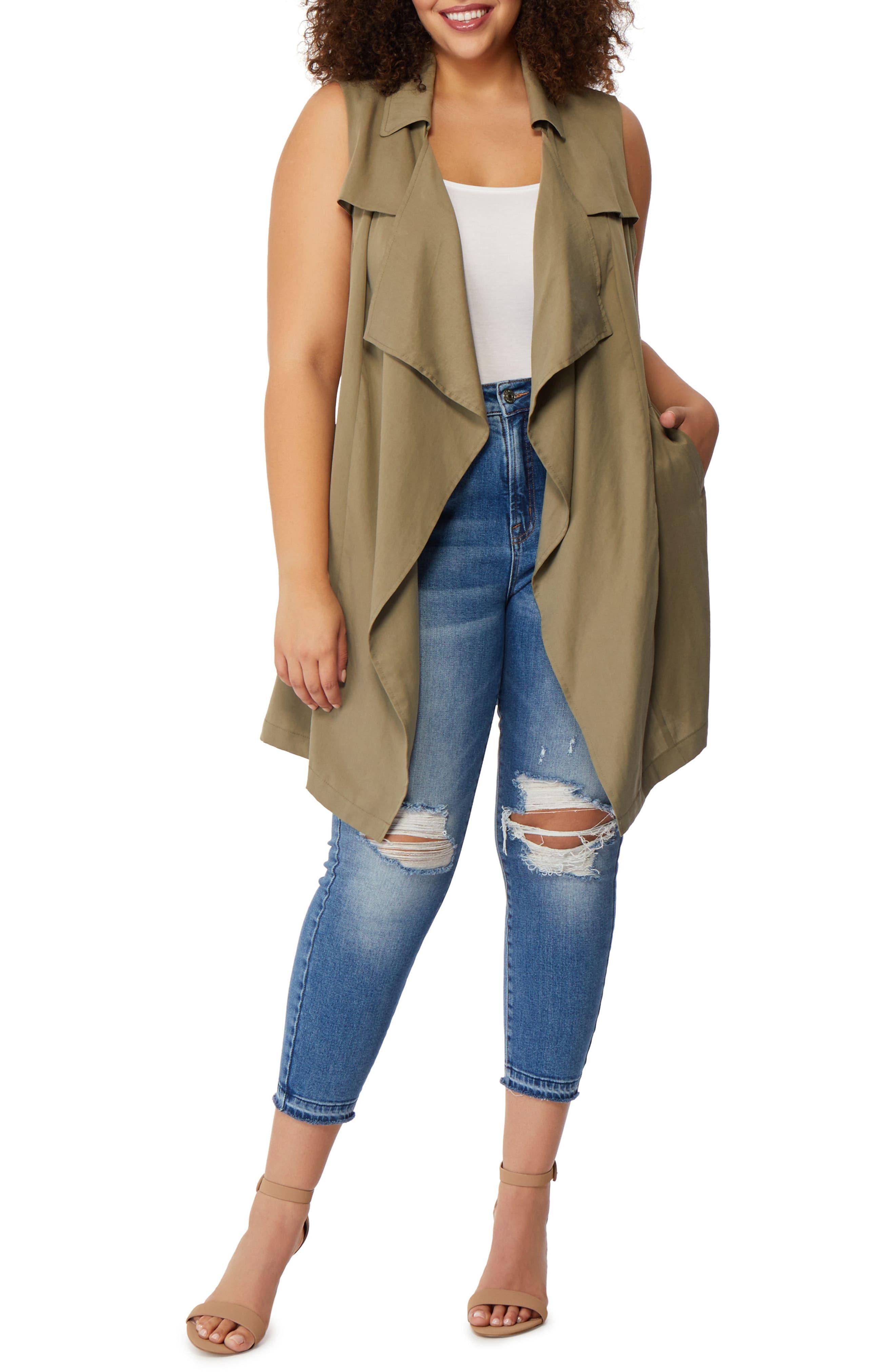 Flyaway Trench Coat Vest,                             Main thumbnail 1, color,                             Burnt Olive