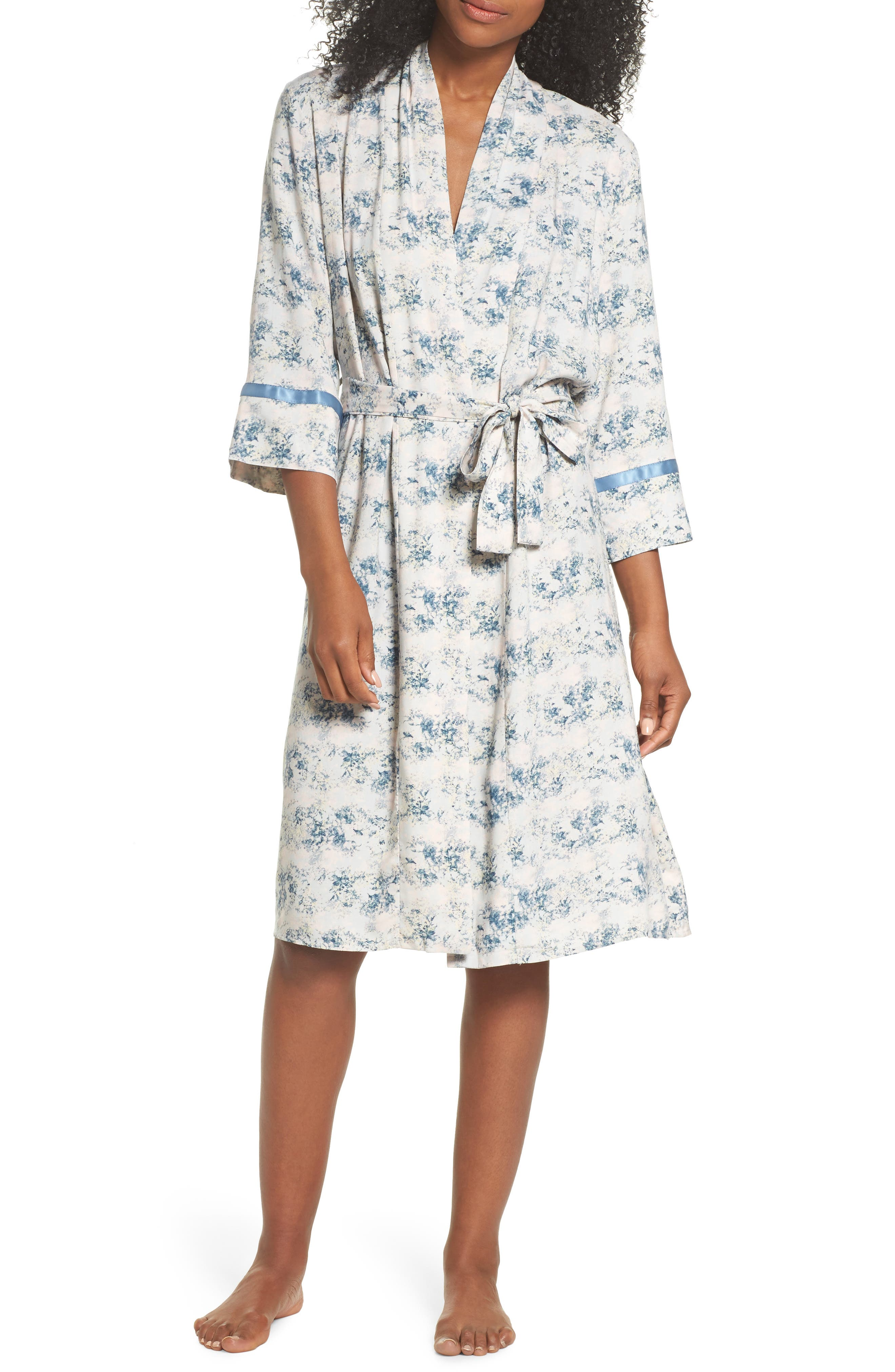 Floral Print Robe,                         Main,                         color, Blue