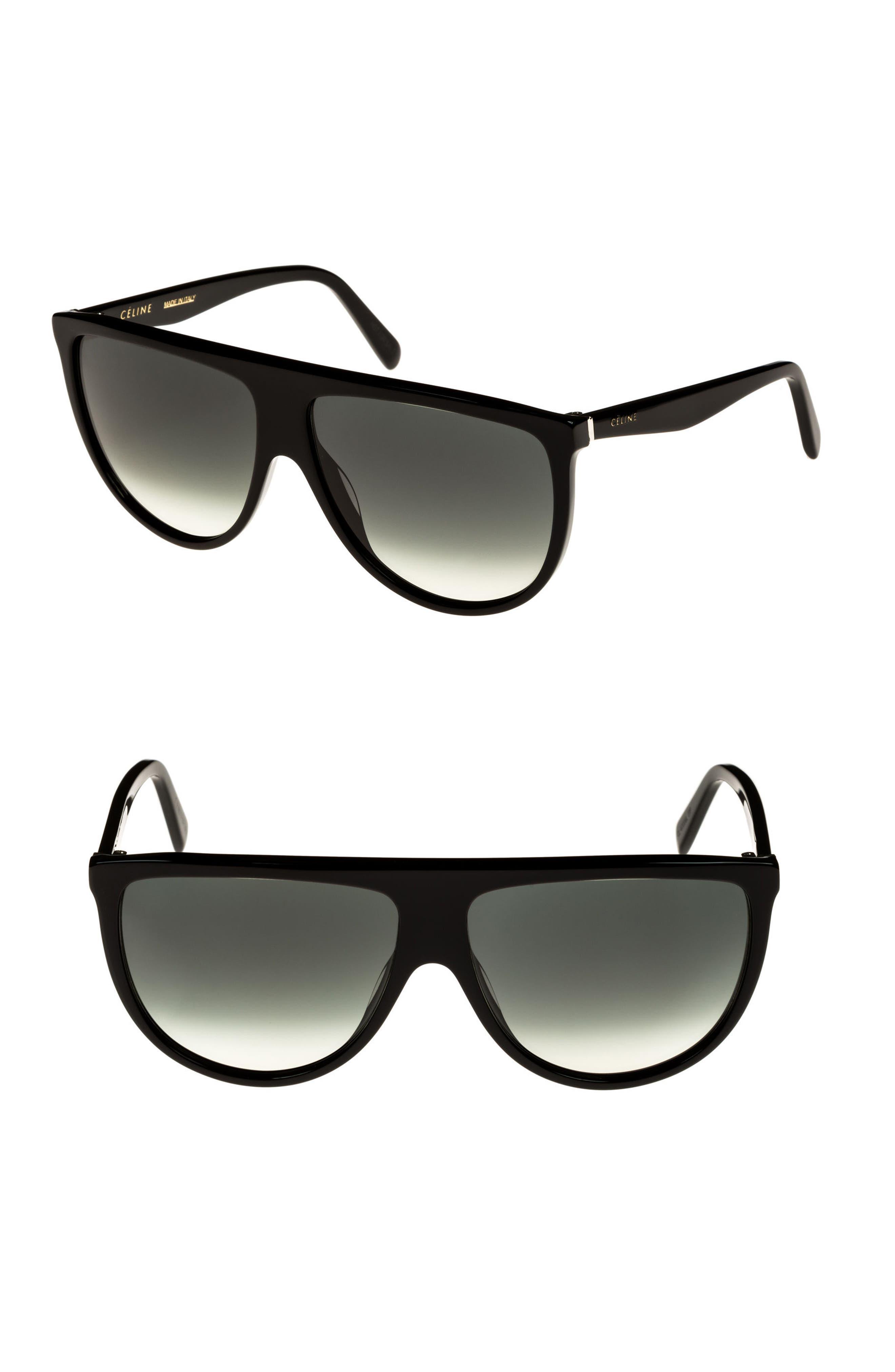 62mm Pilot Sunglasses,                         Main,                         color, Black/ Green