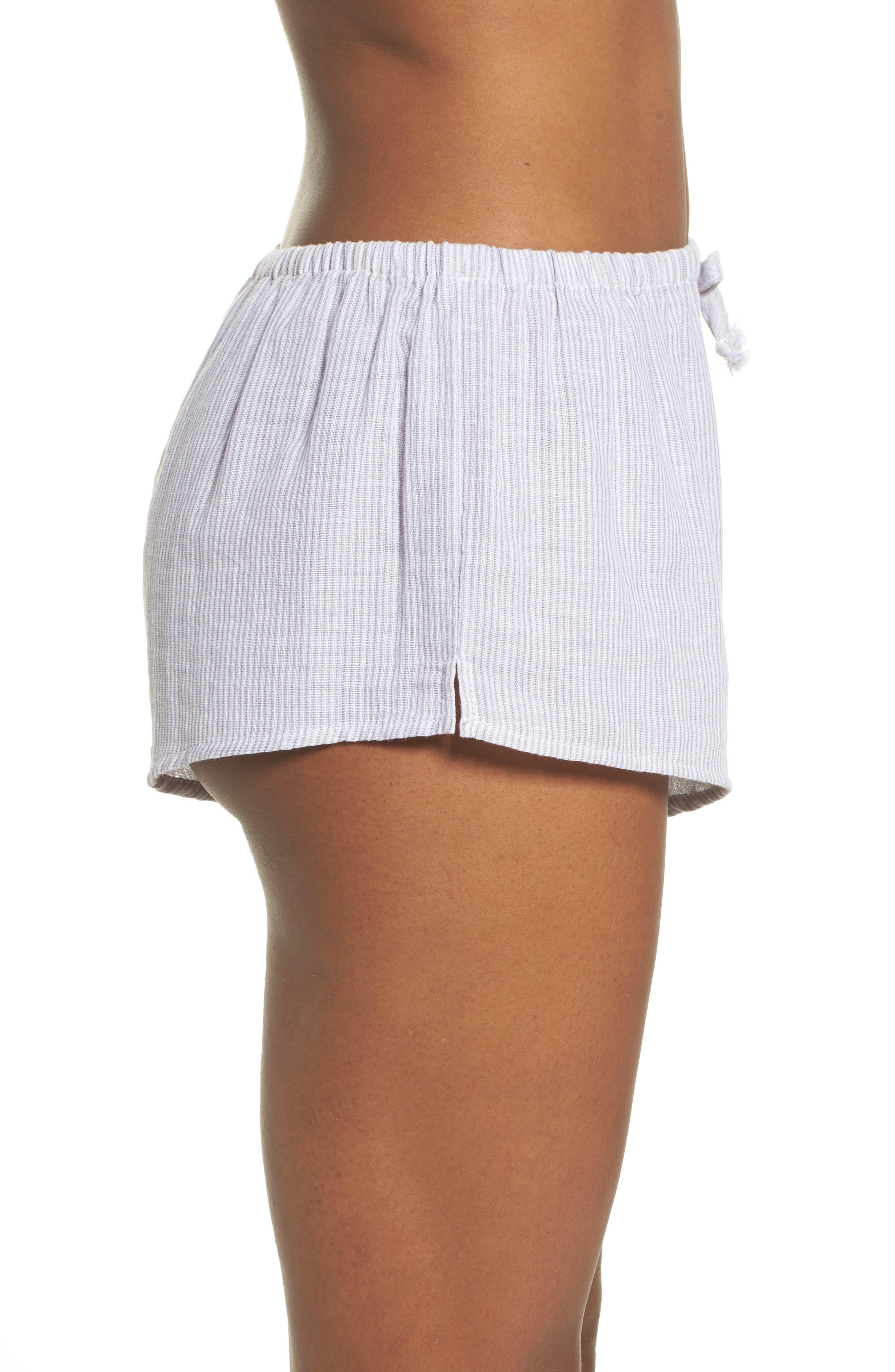 Stripe Pajama Shorts,                             Alternate thumbnail 3, color,                             Grey/ White