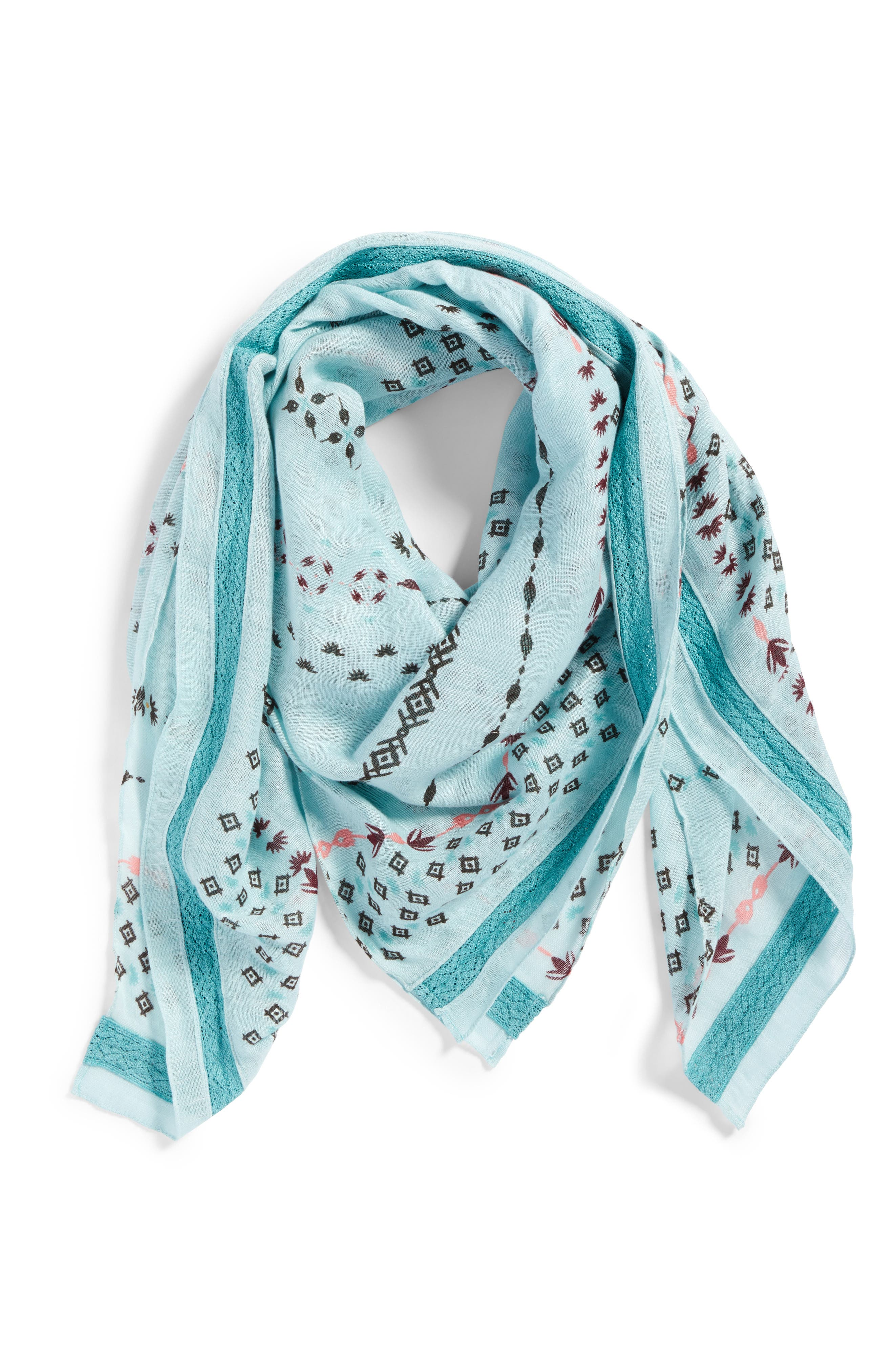 Mixed Print Scarf,                             Alternate thumbnail 2, color,                             Teal Dreamy Geo