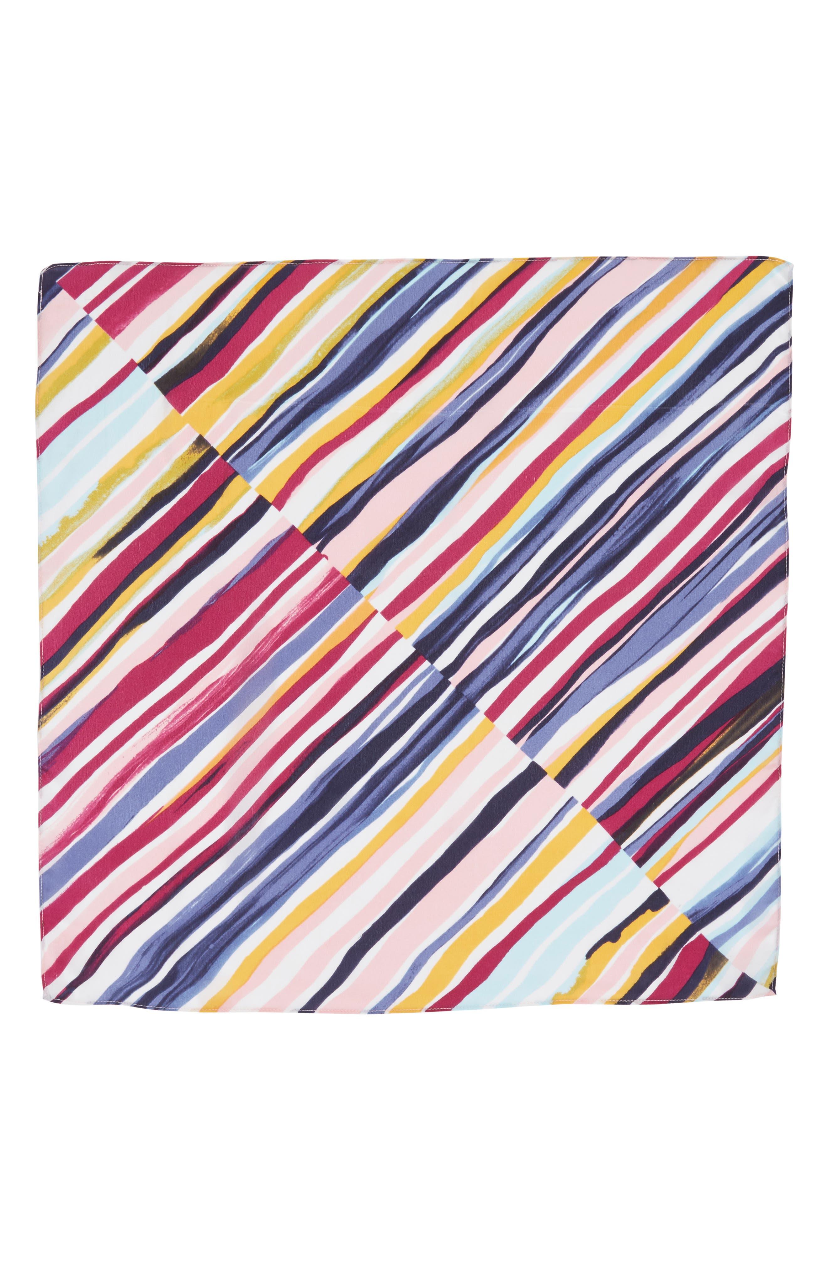 Print Silk Scarf,                             Alternate thumbnail 3, color,                             Purple Marker Mix Stripe Print