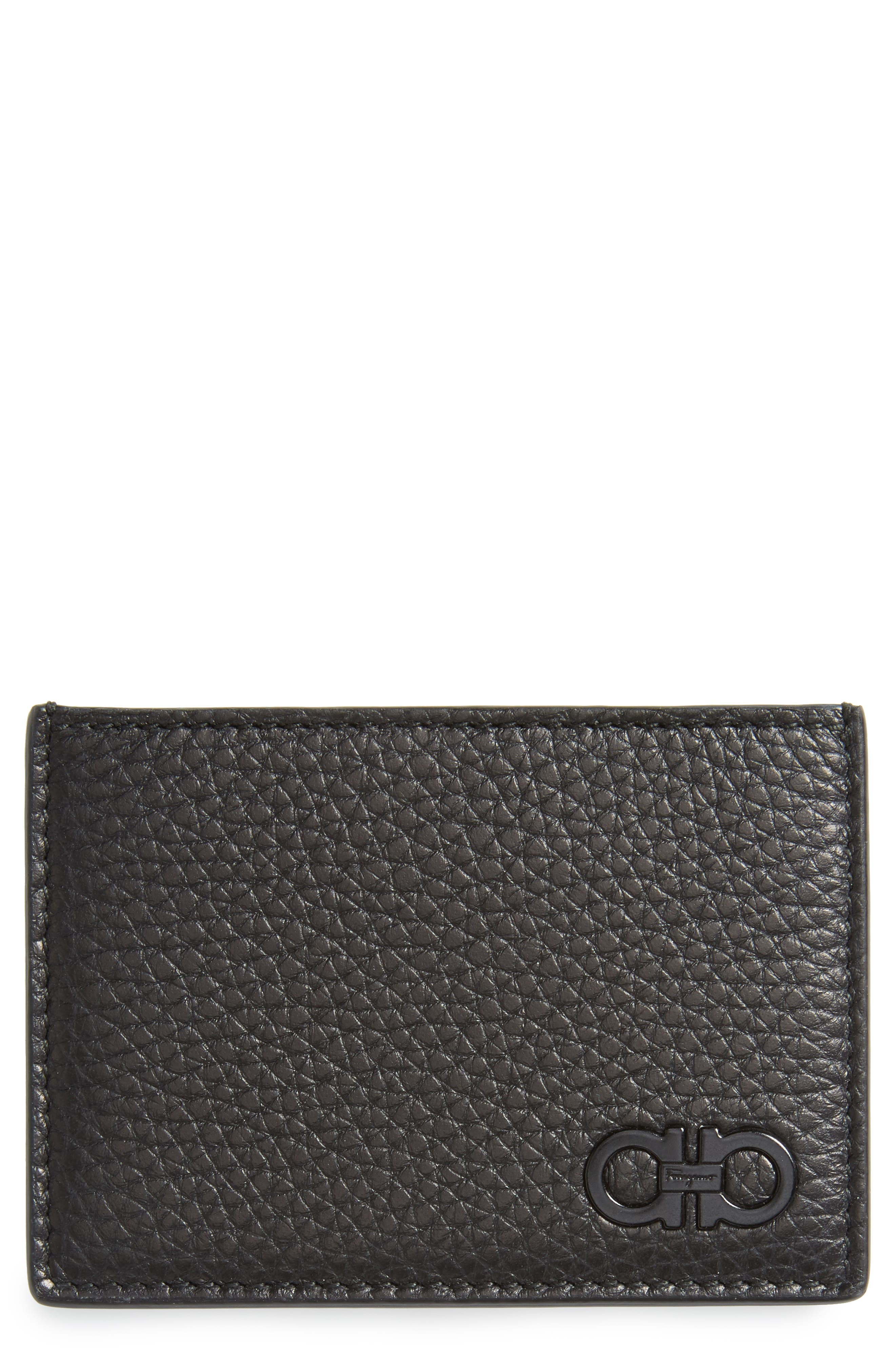 Calfskin Leather Card Case,                         Main,                         color, Black