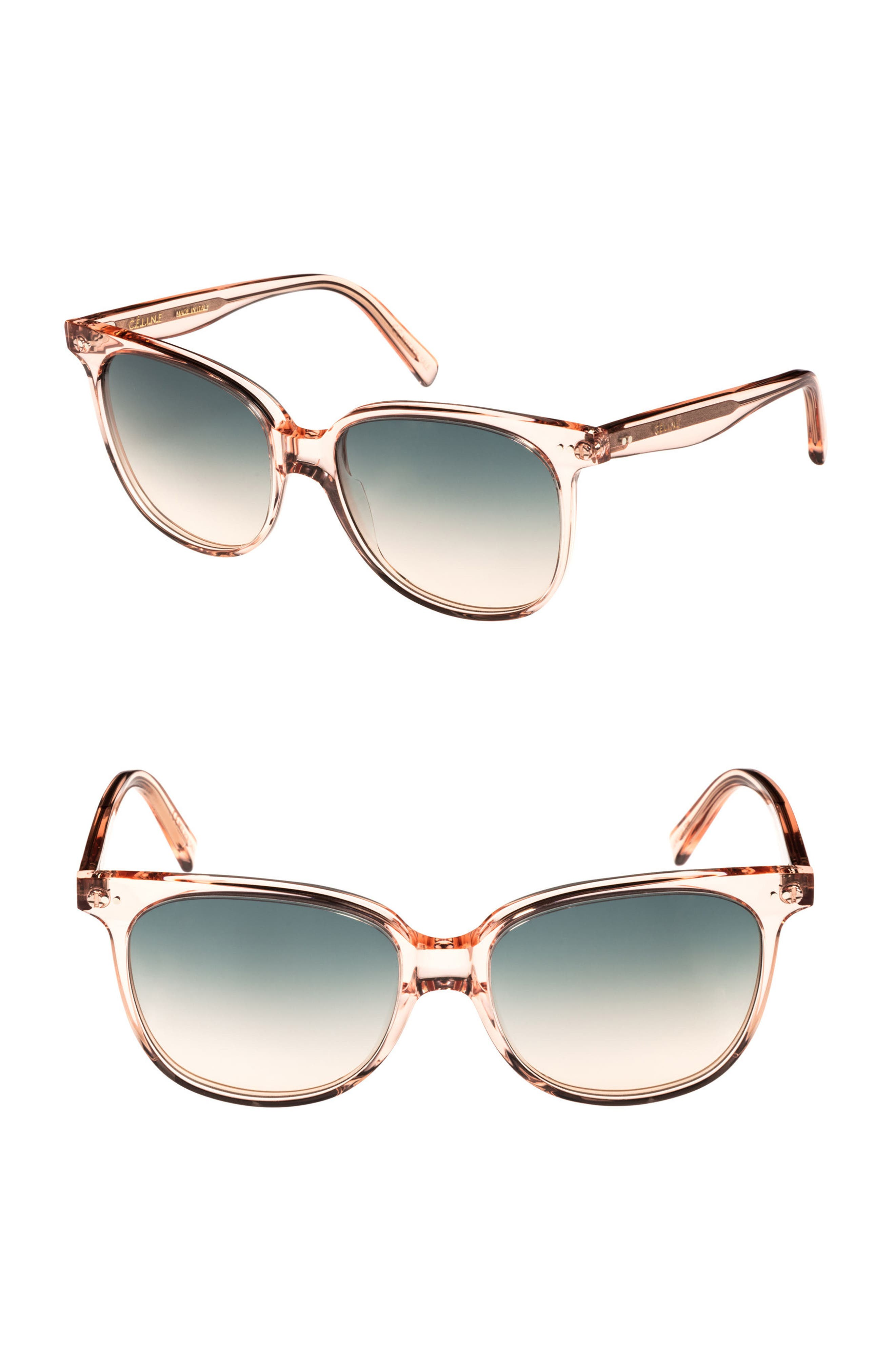 57mm Square Sunglasses,                             Main thumbnail 1, color,                             Baby Pink/ Turquoise
