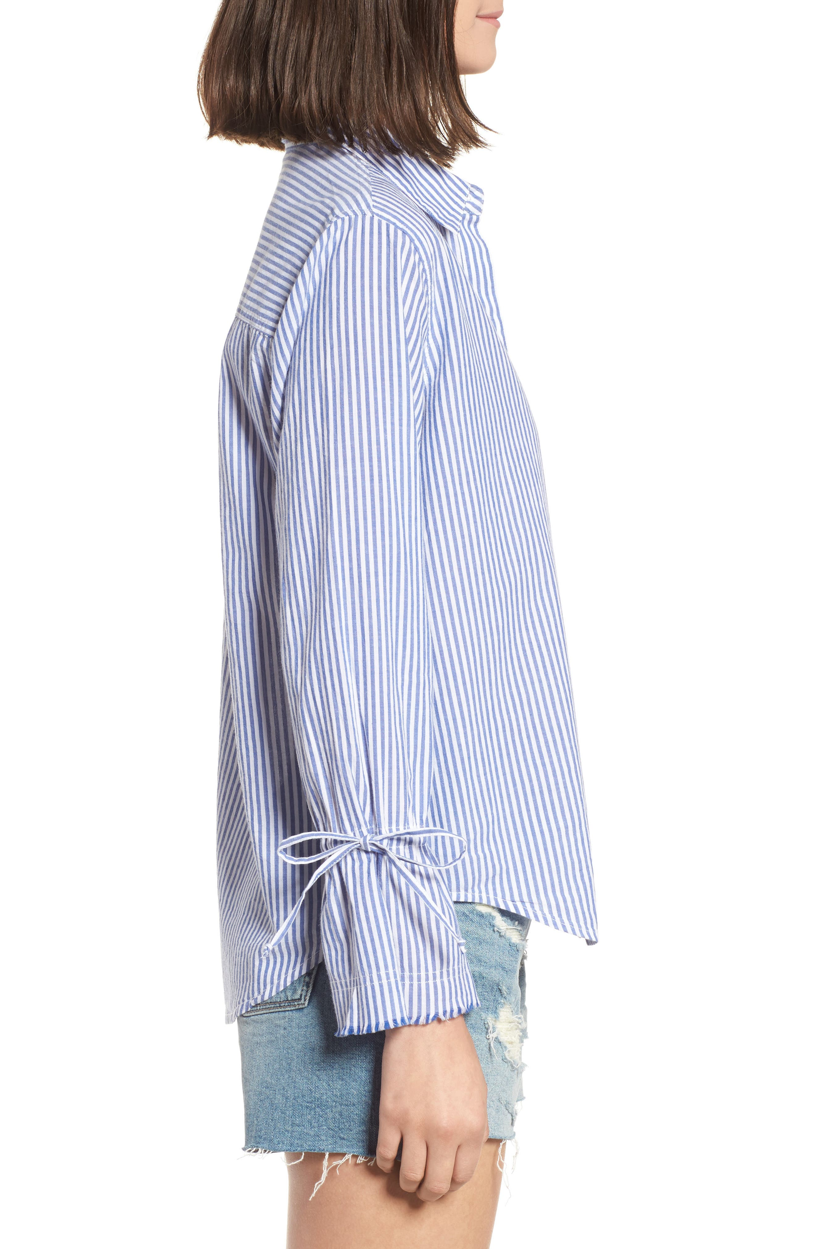 Astrid Tie Cuff Shirt,                             Alternate thumbnail 3, color,                             Banker Stripe