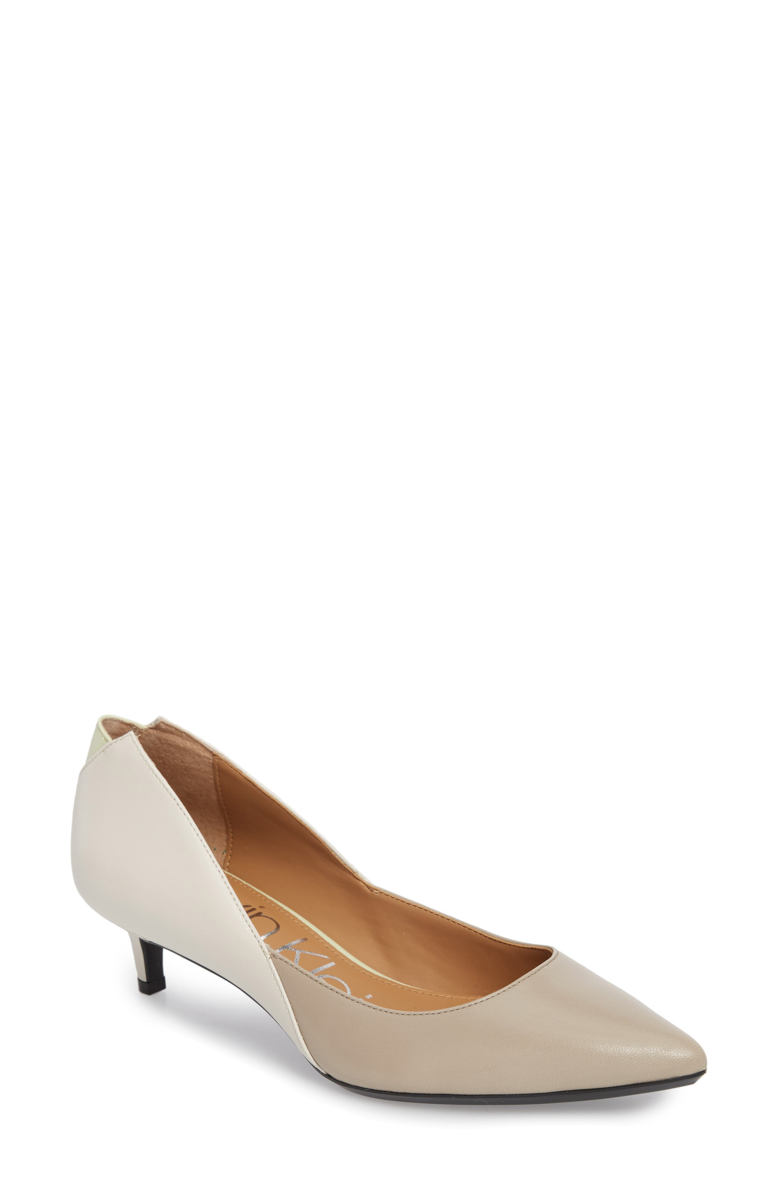 Grayce Pointy Toe Pump,                         Main,                         color, Clay/ White Leather