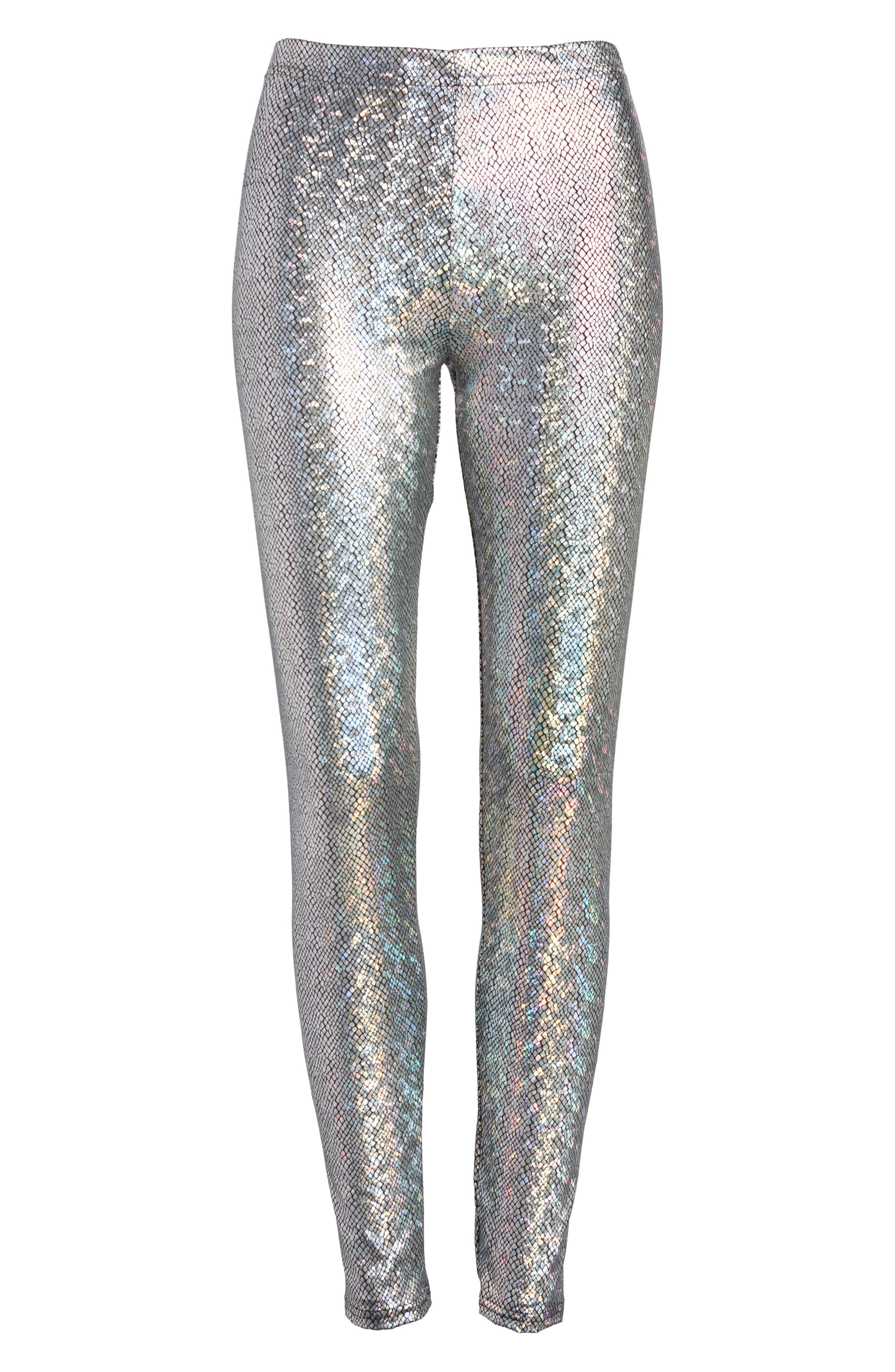 Metallic Foil Snake Print Leggings,                             Alternate thumbnail 4, color,                             Silver