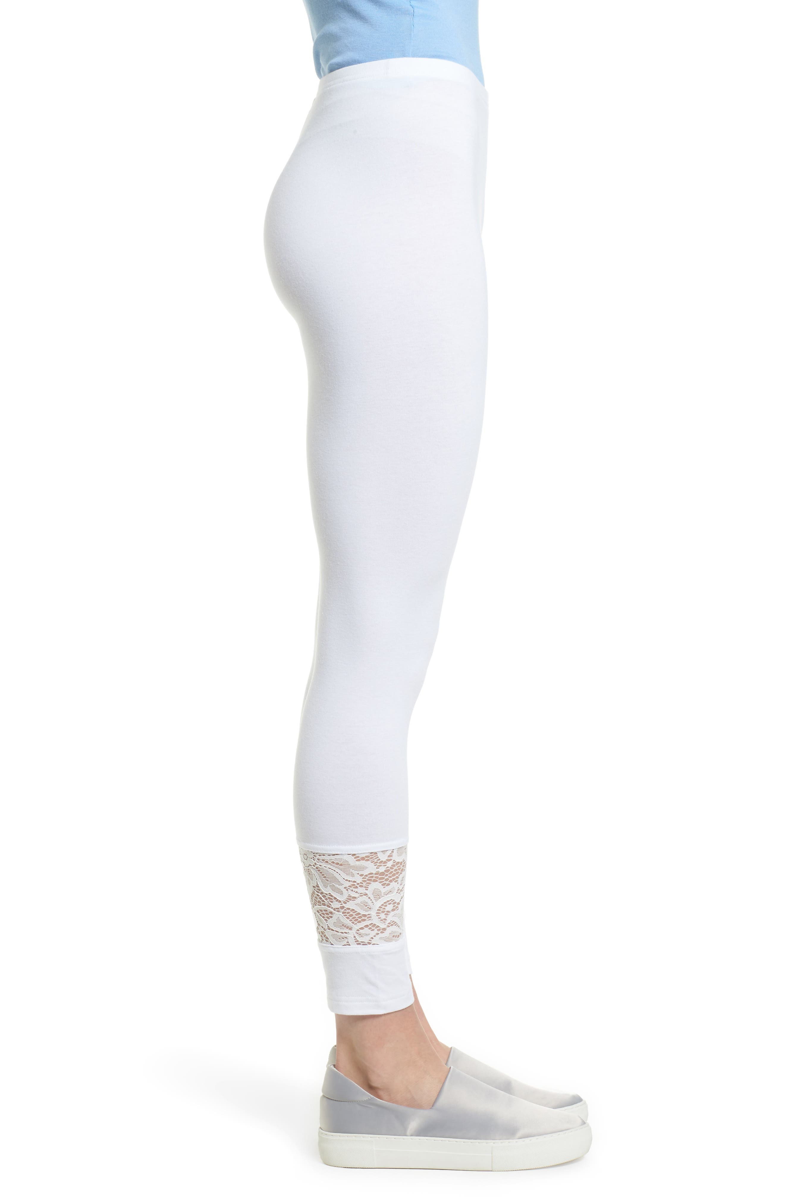 Lace Block Skimmer Leggings,                             Alternate thumbnail 3, color,                             White