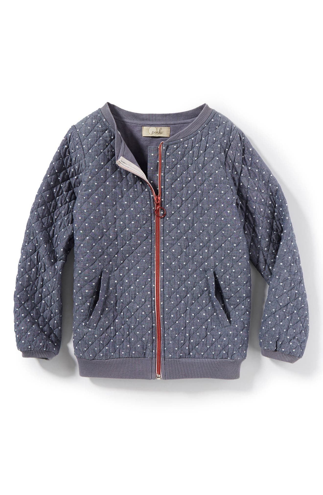 Heart Print Quilted Jacket,                             Main thumbnail 1, color,                             Chambray