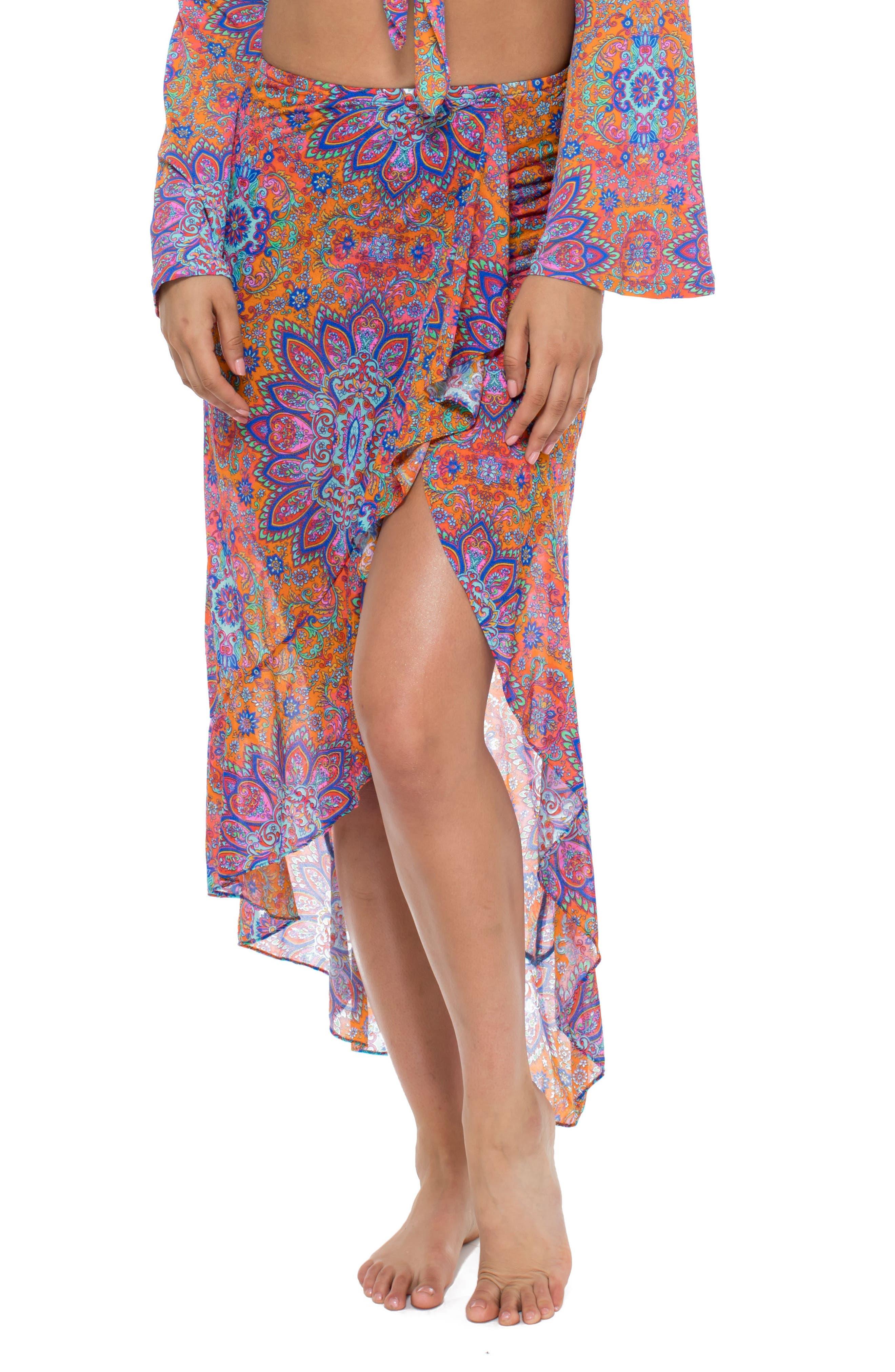 Ruffle Skirt Cover-Up,                             Main thumbnail 1, color,                             Pink Multi
