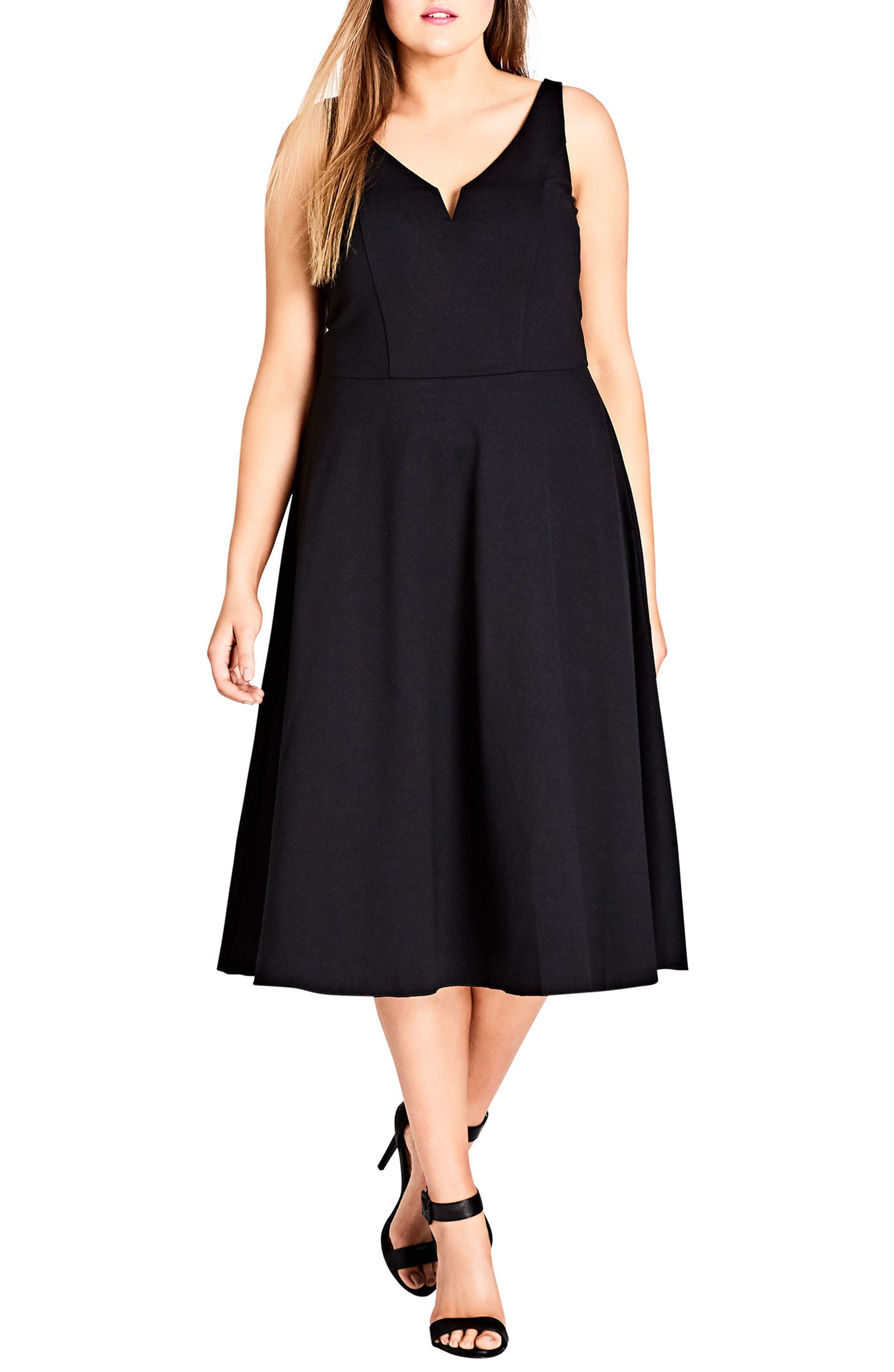 Cute Girl Fit & Flare Midi Dress,                             Main thumbnail 1, color,                             Black