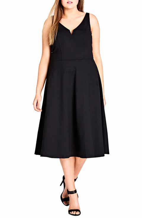 City Chic Cute Girl Fit & Flare Midi Dress (Plus Size)