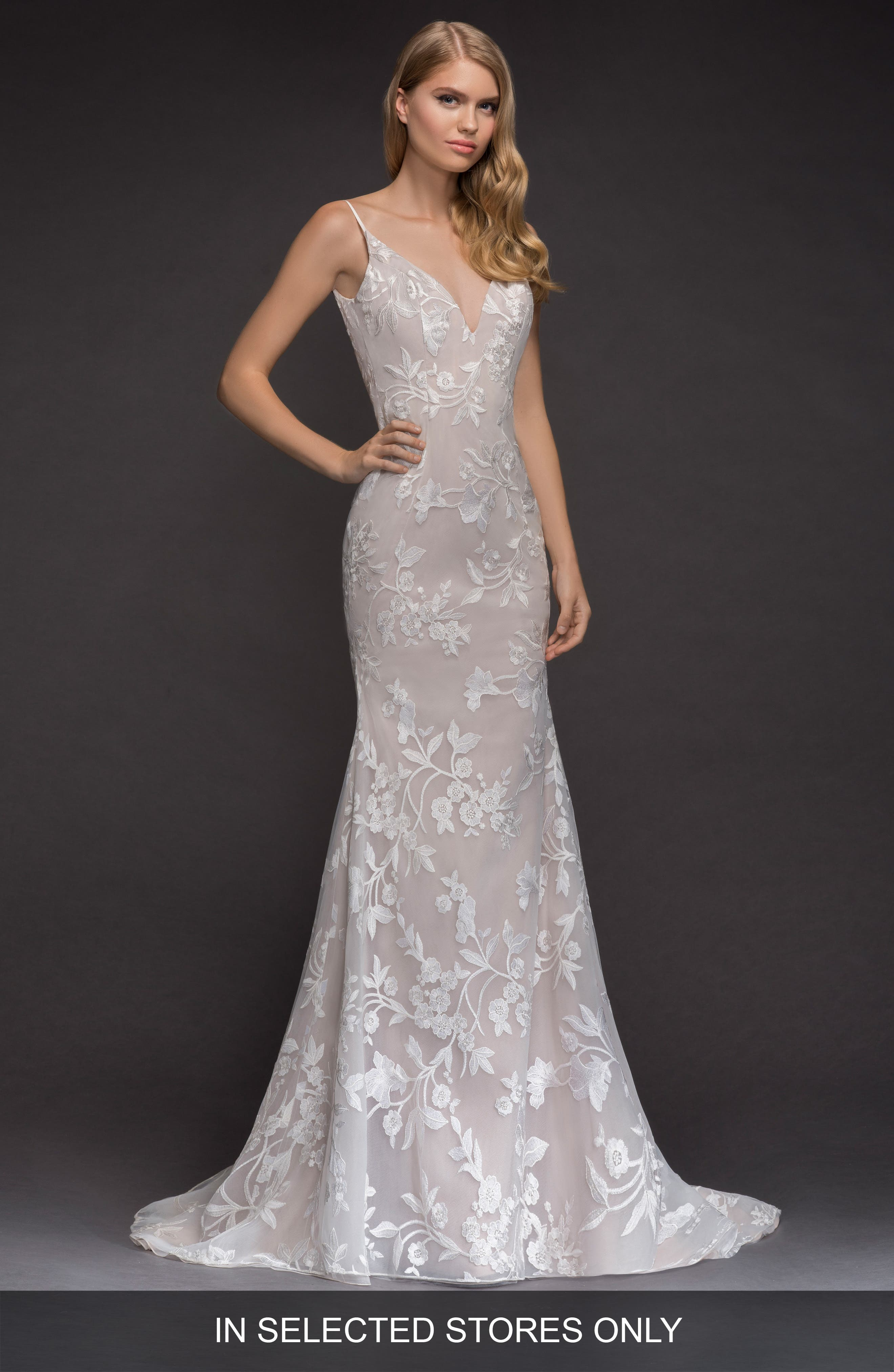 Nessy Embroidered Trumpet Gown,                         Main,                         color, Ivory