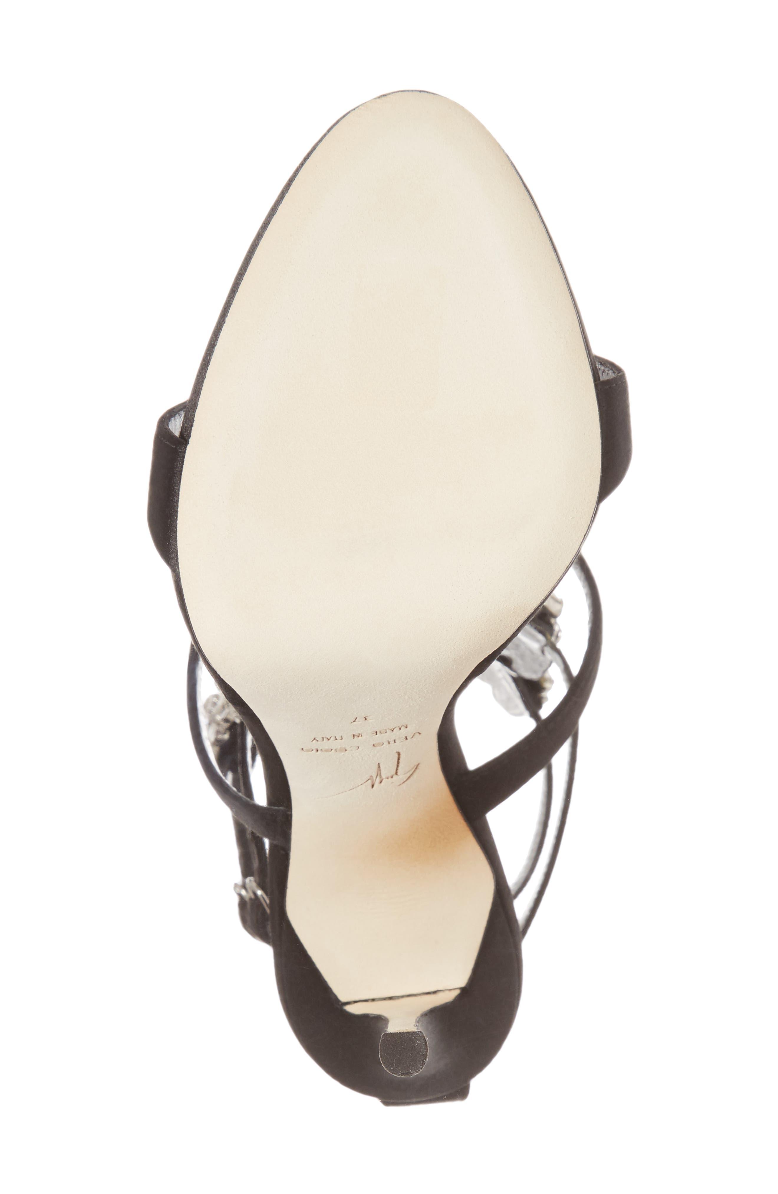 Cruel Wing Crystal Embellished Sandal,                             Alternate thumbnail 6, color,                             Black/ Crystal
