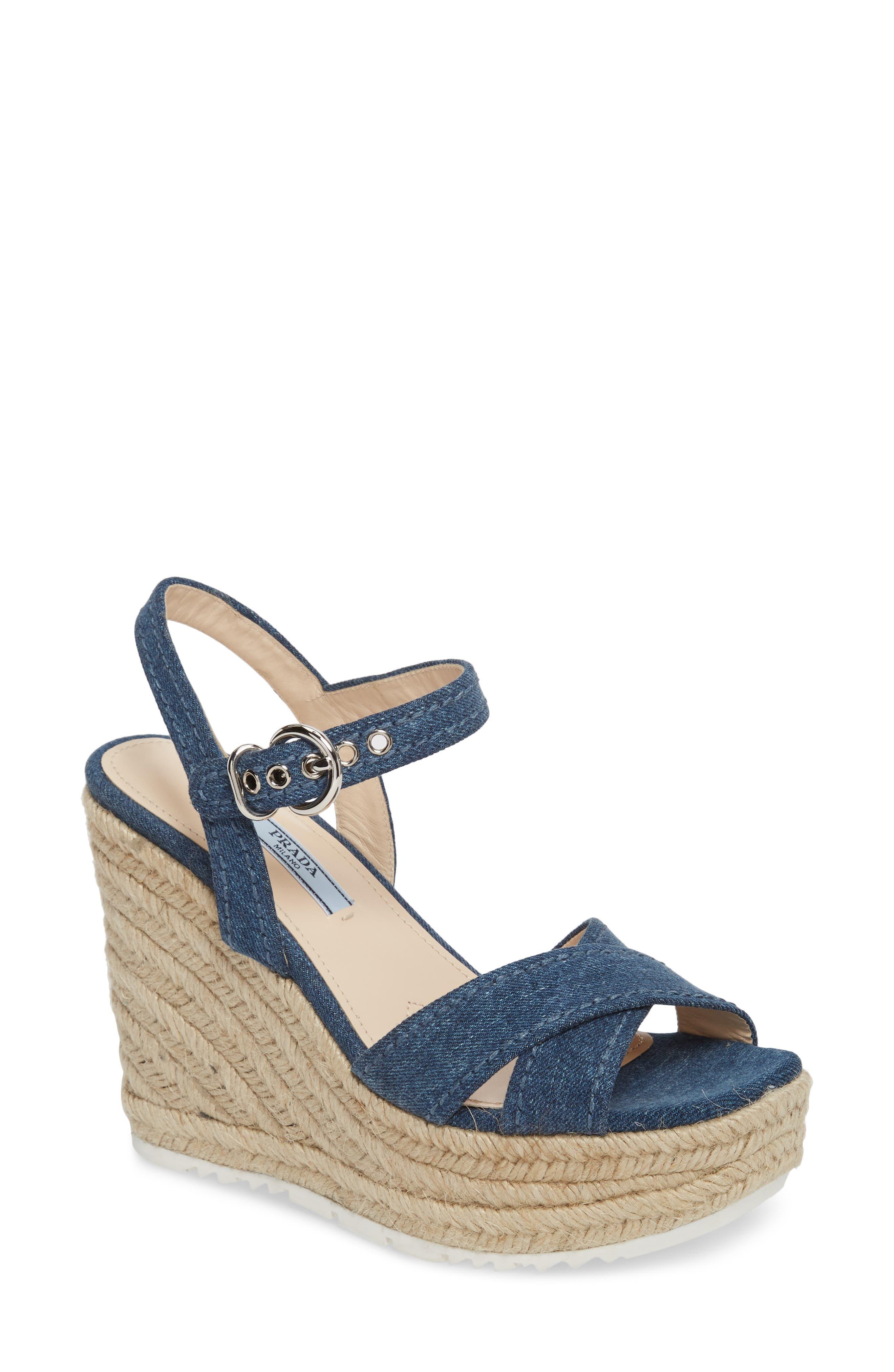 Espadrille Wedge Sandal,                         Main,                         color, Blue