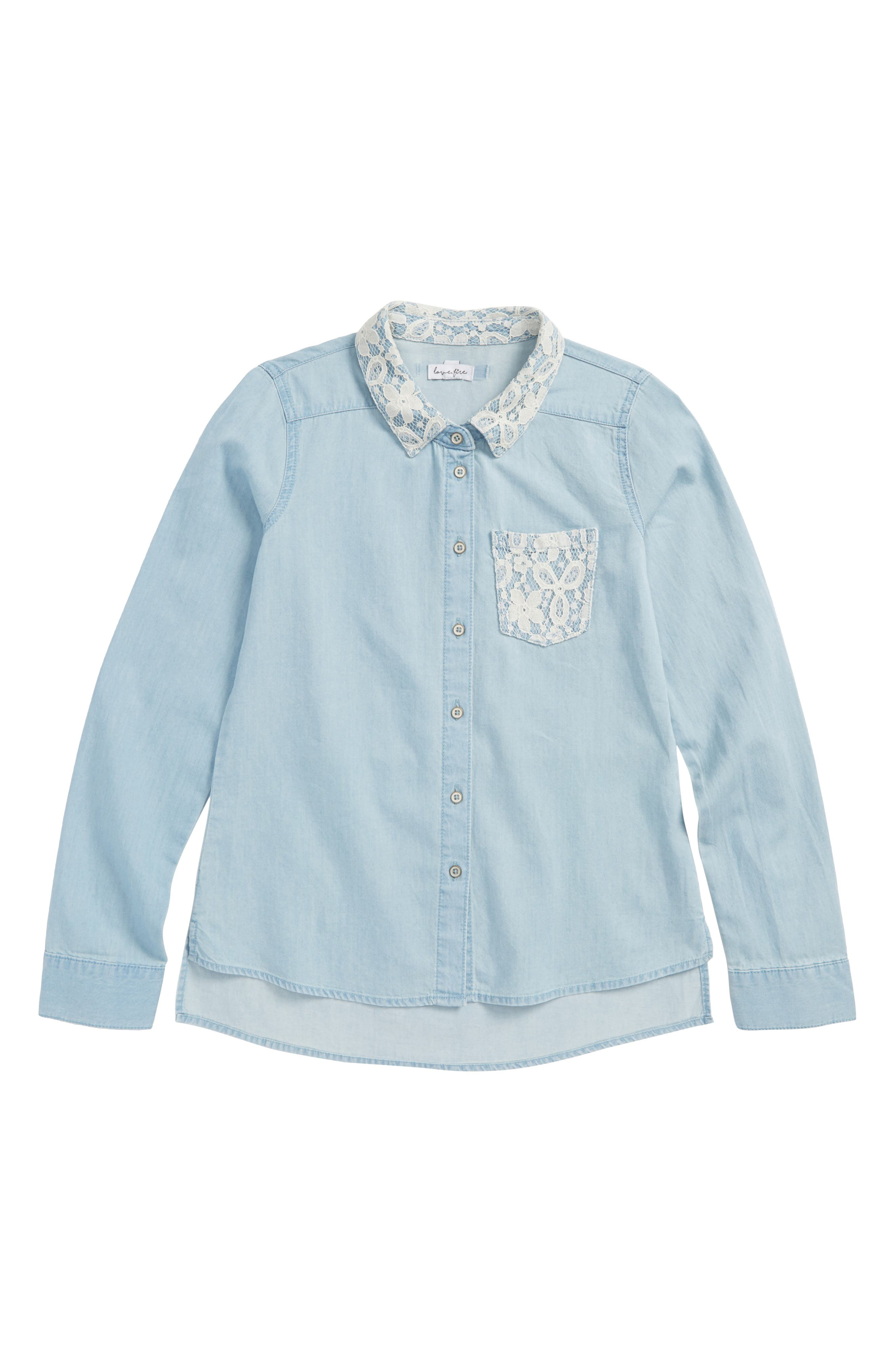 Alternate Image 1 Selected - Love, Fire Lace Trim Chambray Shirt (Big Girls)