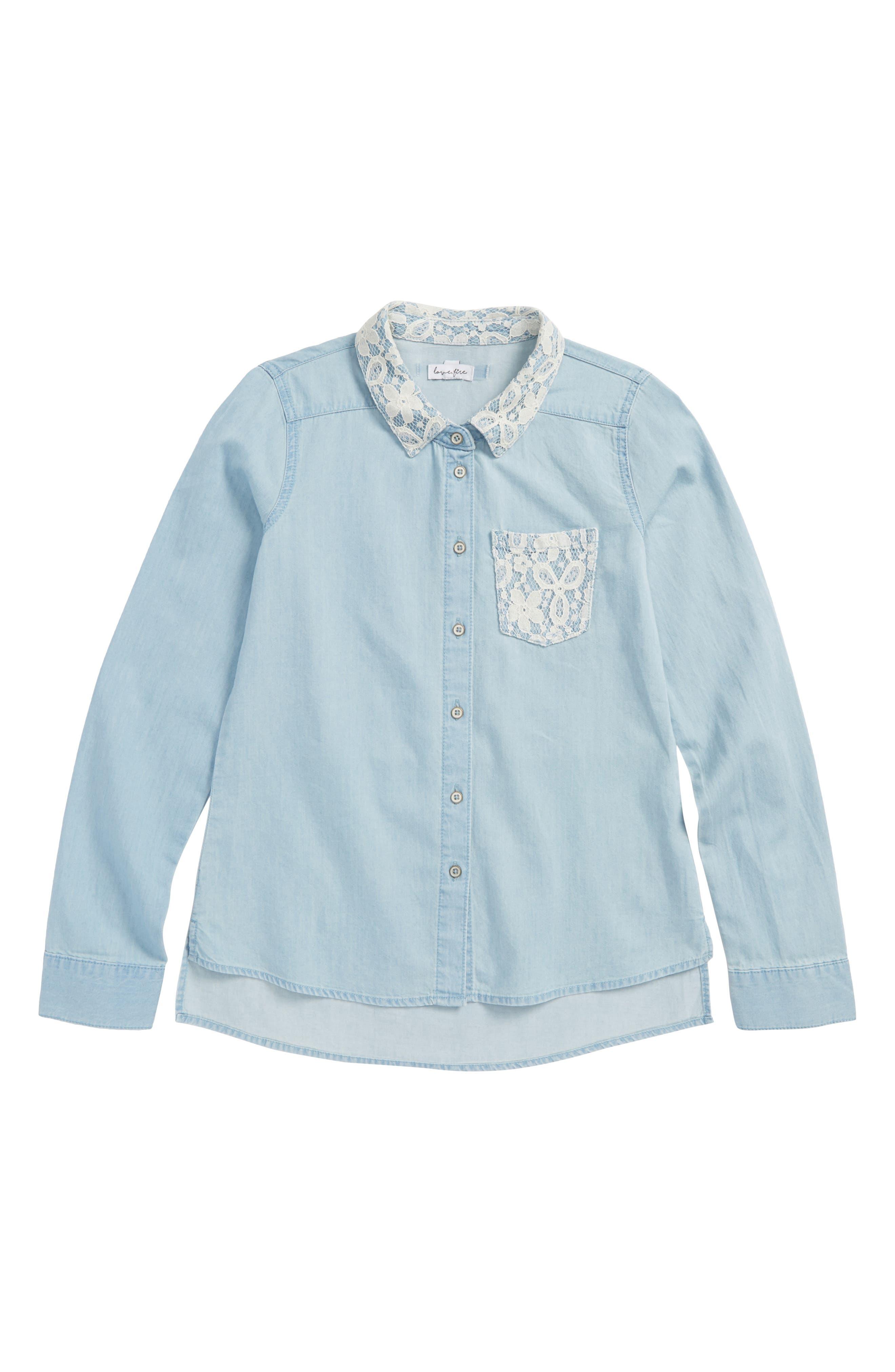 Lace Trim Chambray Shirt,                         Main,                         color, Medium Wash