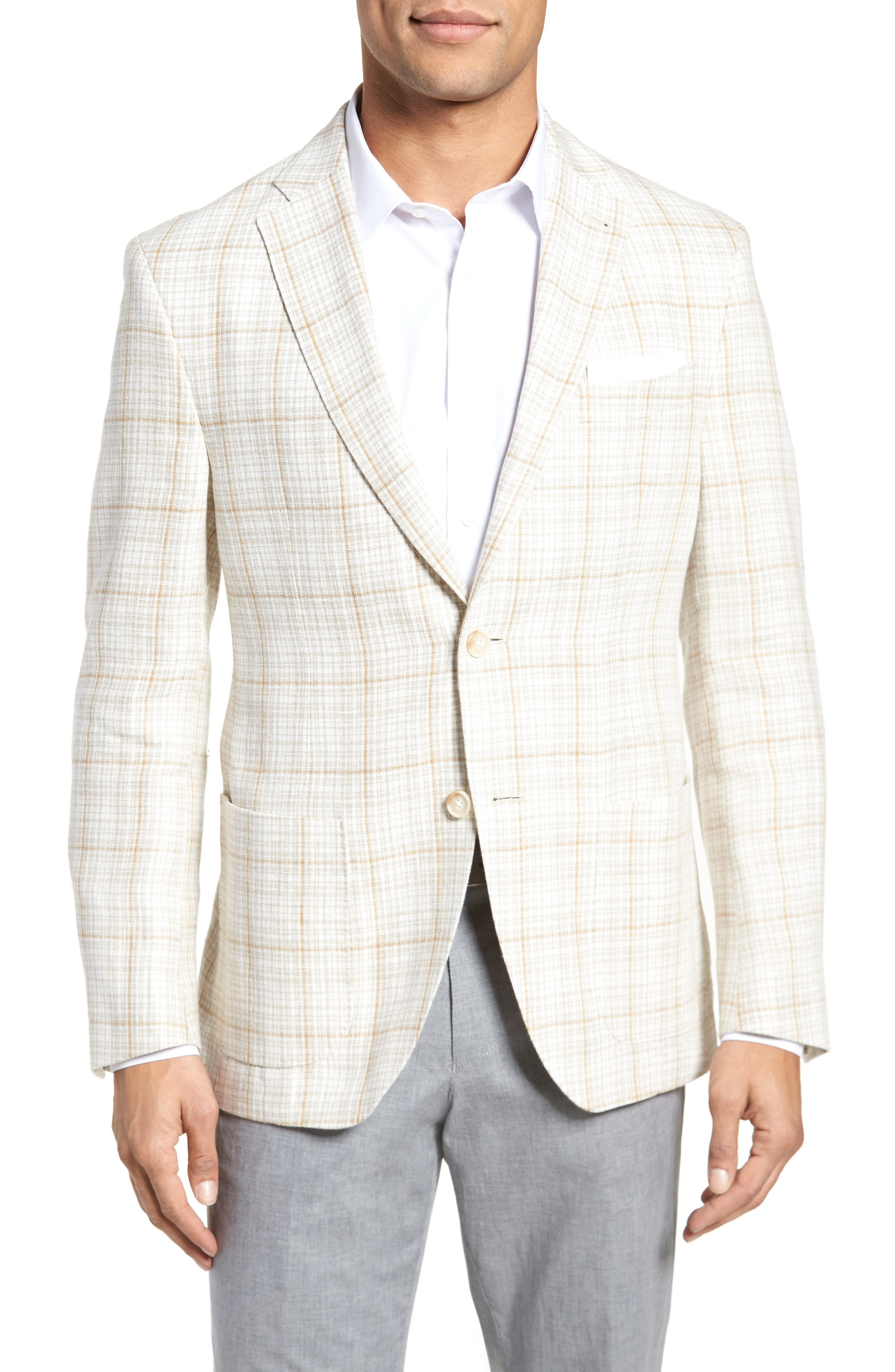 Trent Trim Fit Plaid Linen Sport Coat,                         Main,                         color, Light Cream