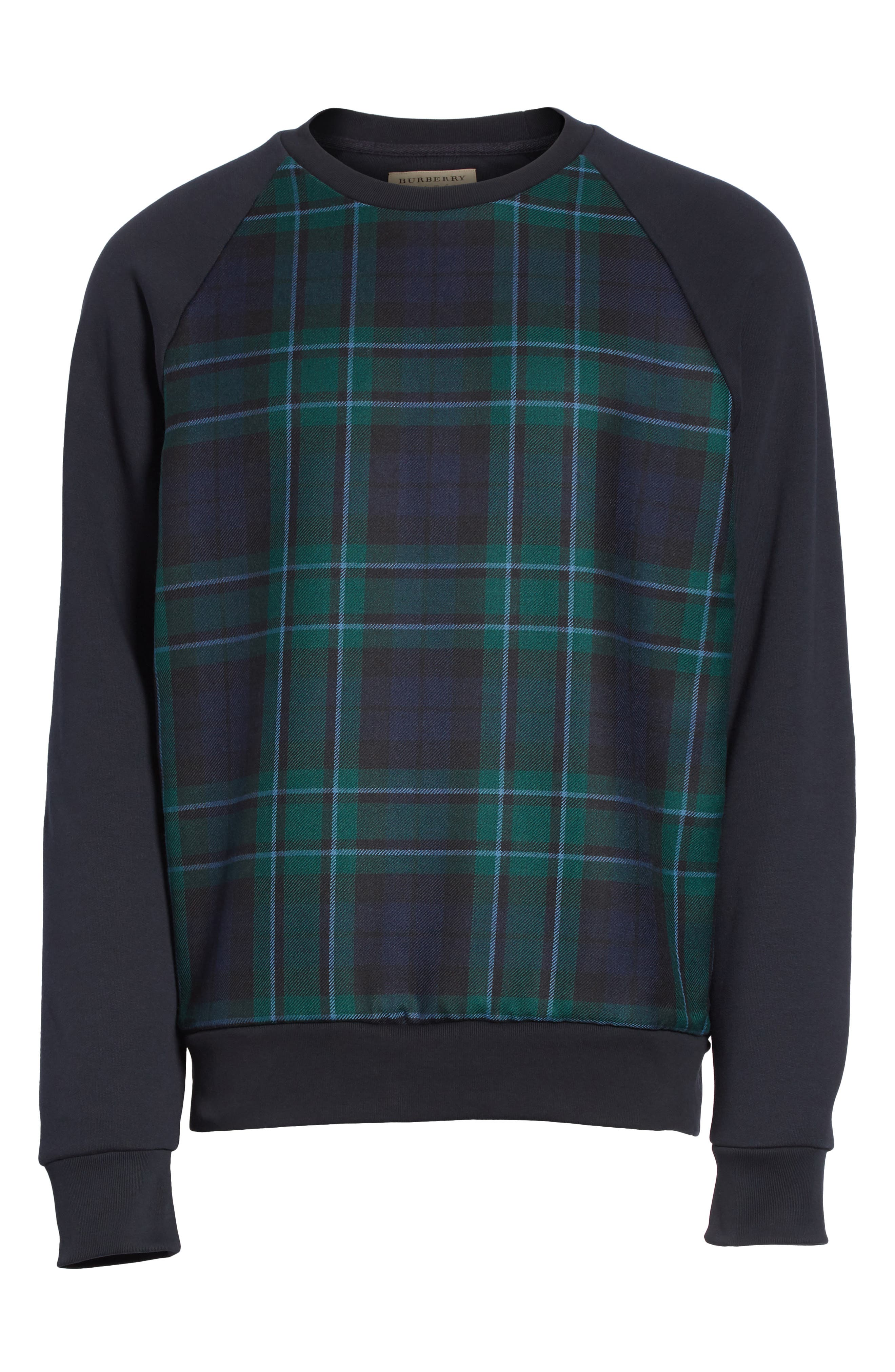 Alternate Image 5  - Burberry Beachen Tartan Panel Jersey Sweatshirt