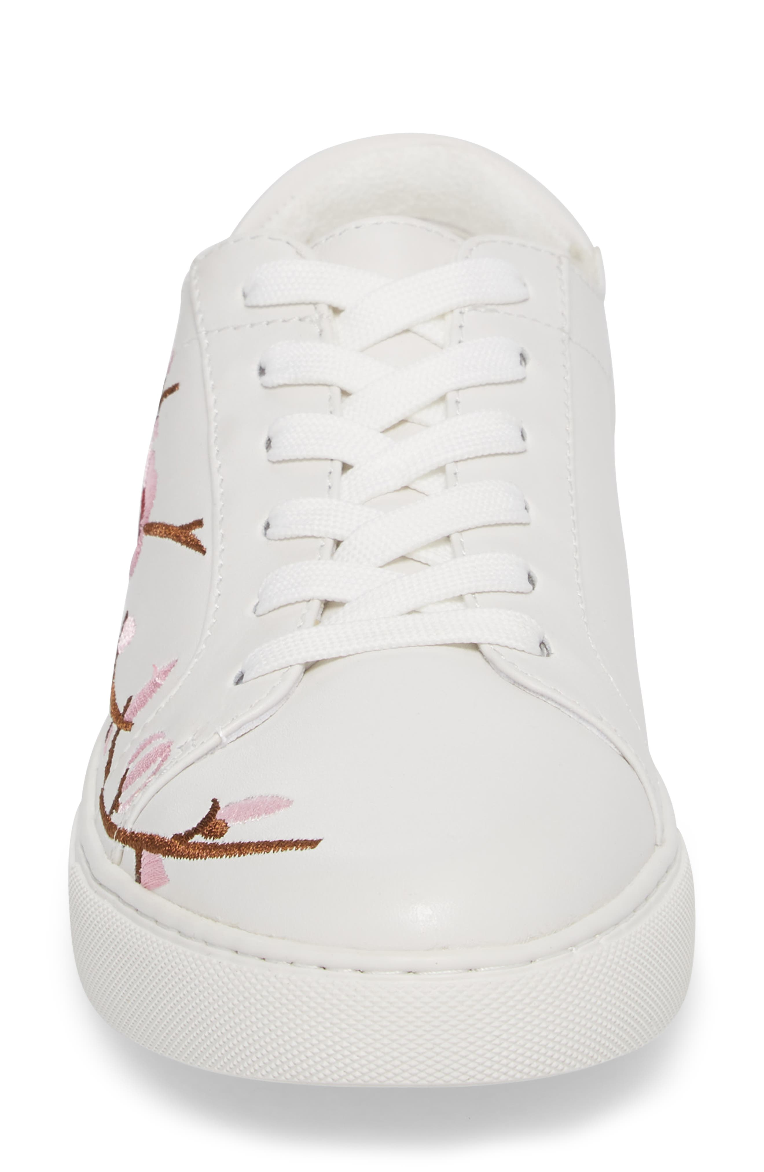 Kam Blossom Embroidered Sneaker,                             Alternate thumbnail 4, color,                             White Leather