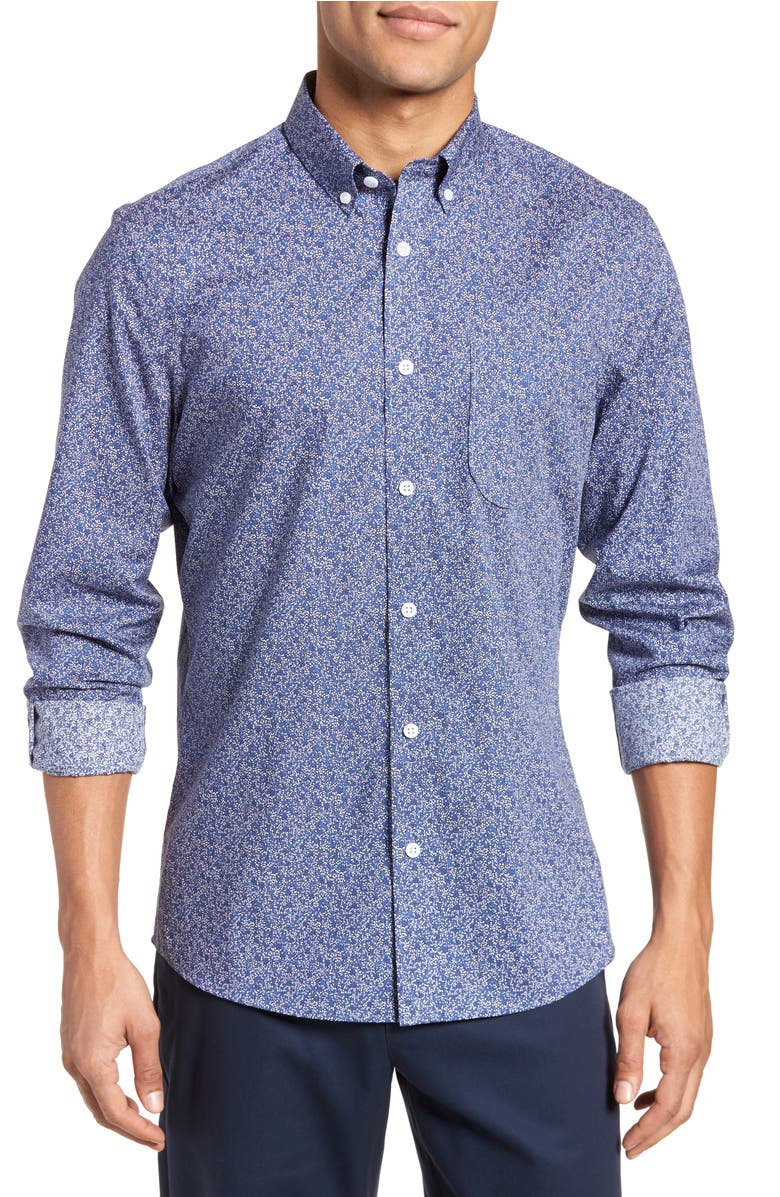 Slim Fit Floral Sport Shirt,                         Main,                         color, Navy Grey Micro Floral