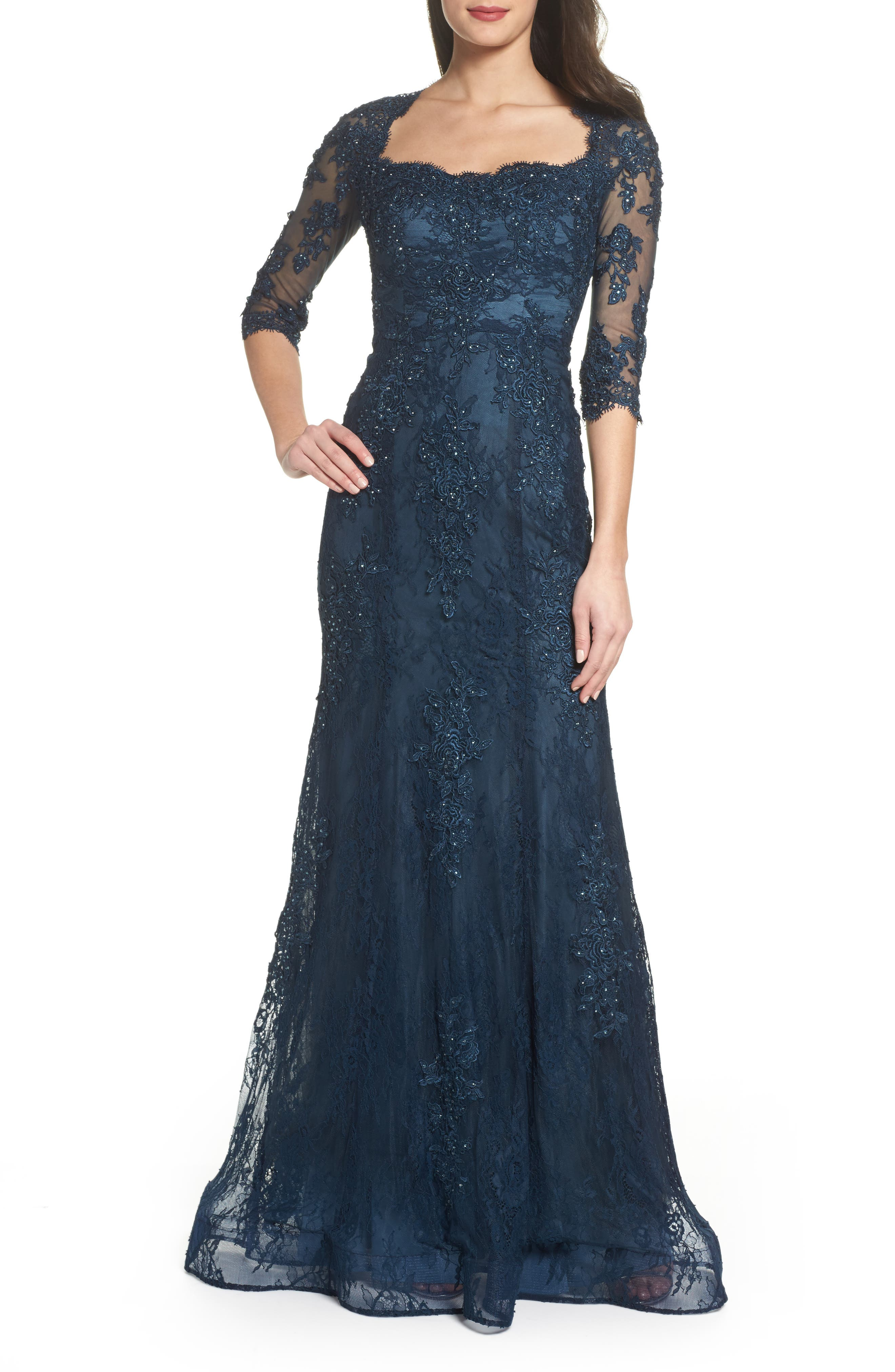 Beaded Lace A-Line Gown,                         Main,                         color, Dark Teal