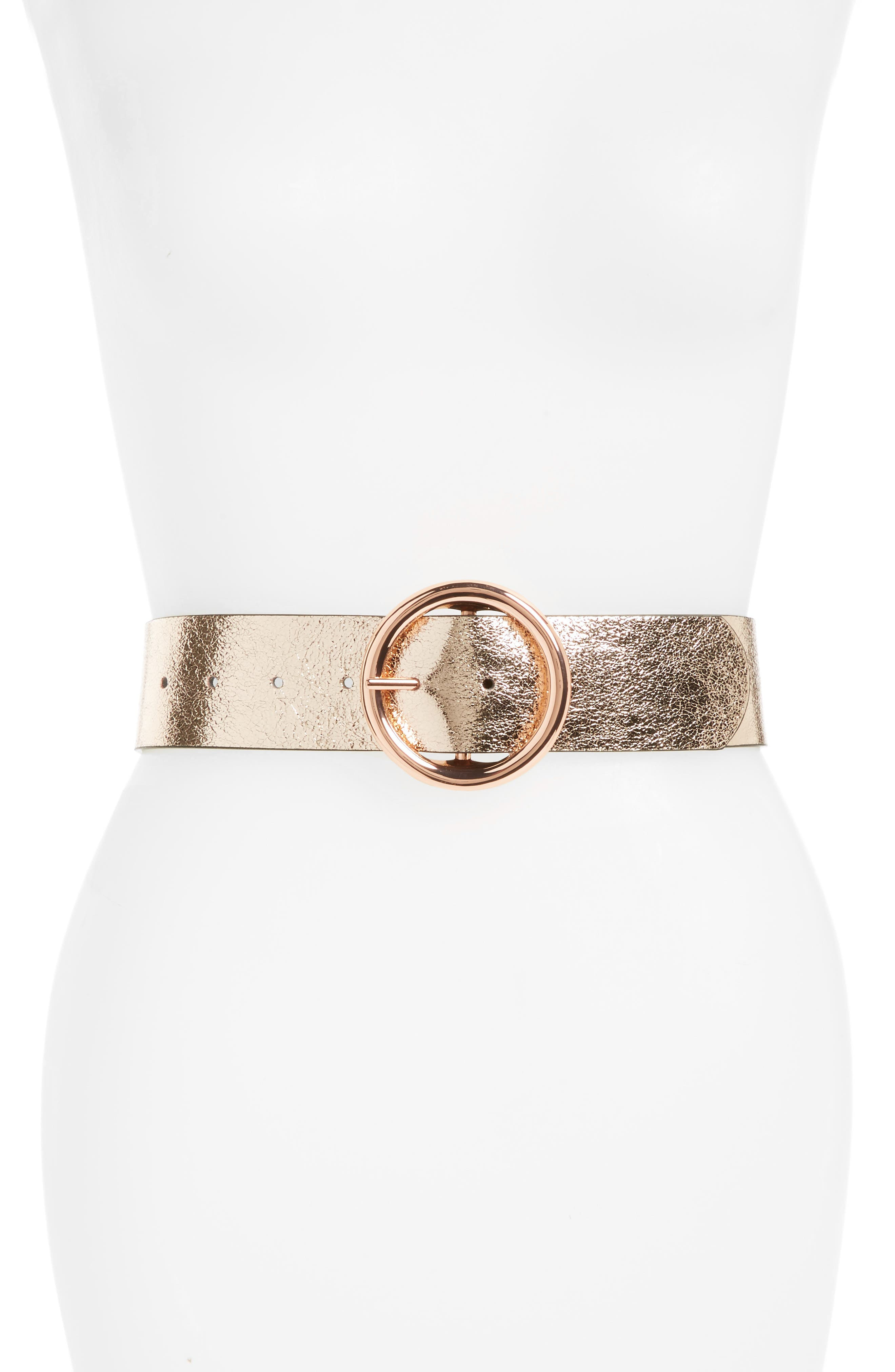 Reversible Metallic/Matte Faux Leather Belt,                             Main thumbnail 1, color,                             Rose Gold/ Black