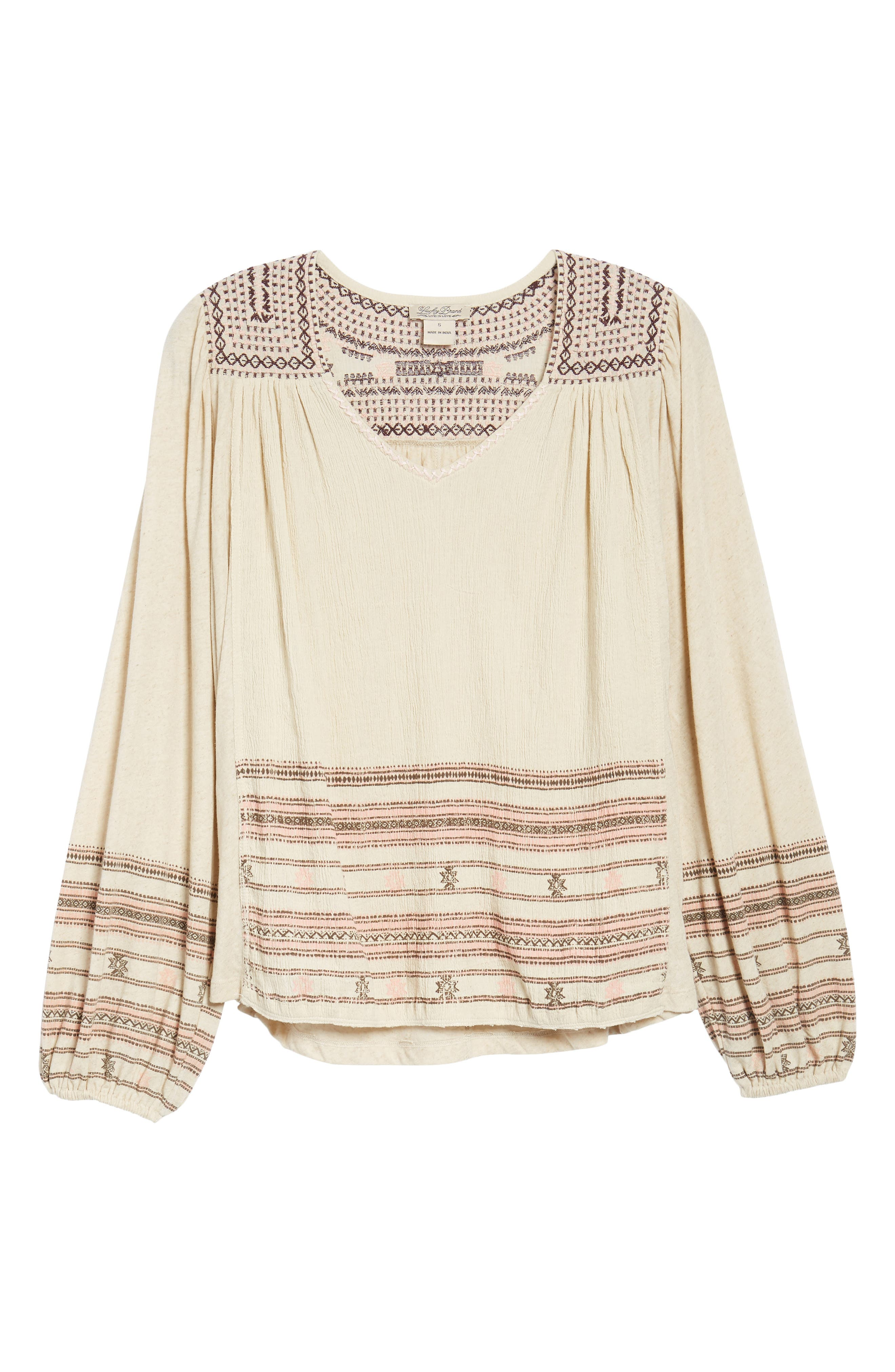 Market Embroidered Peasant Blouse,                             Alternate thumbnail 6, color,                             Natural