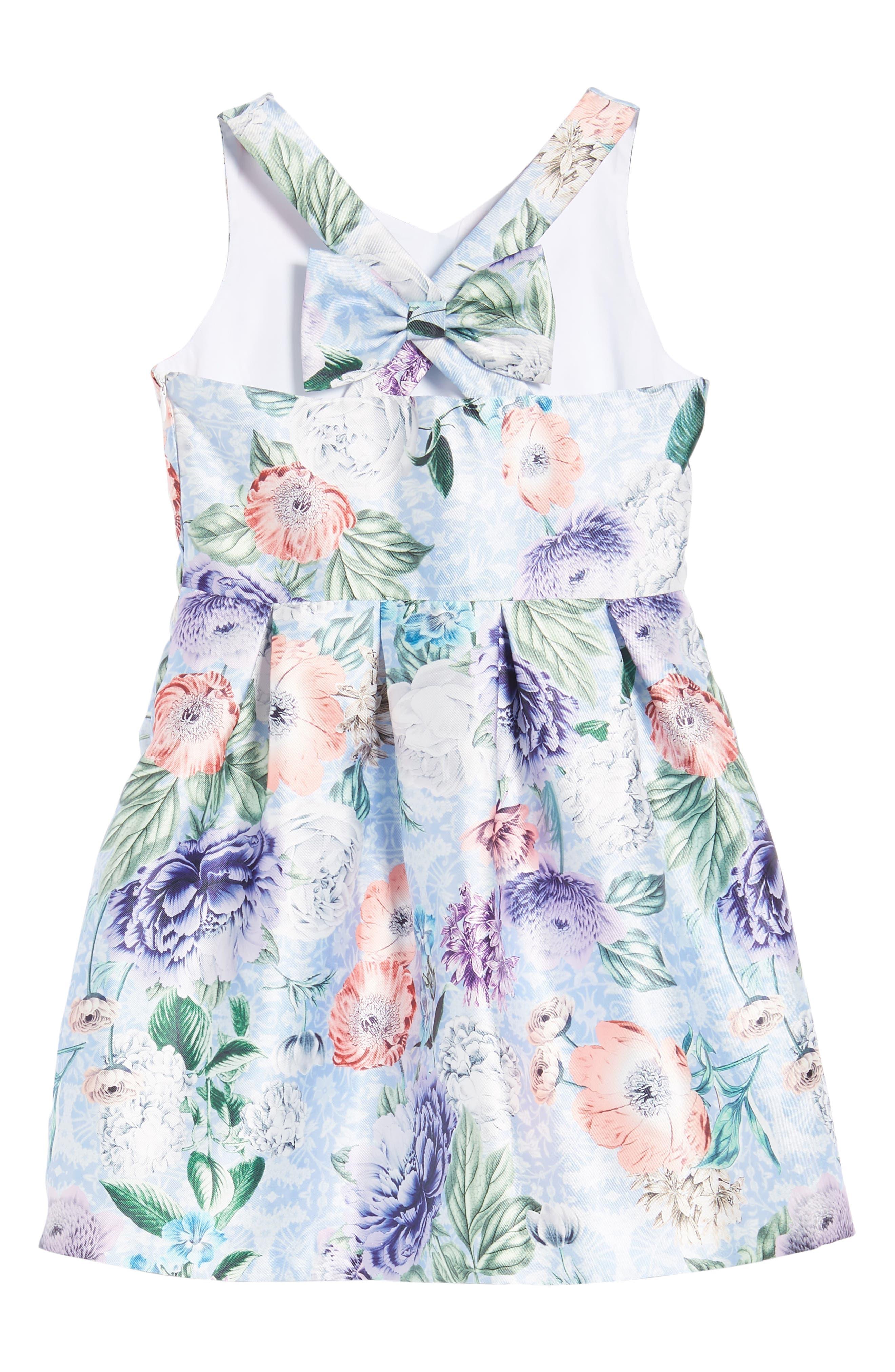 Floral Cross Back Dress,                             Alternate thumbnail 3, color,                             Blue Multi