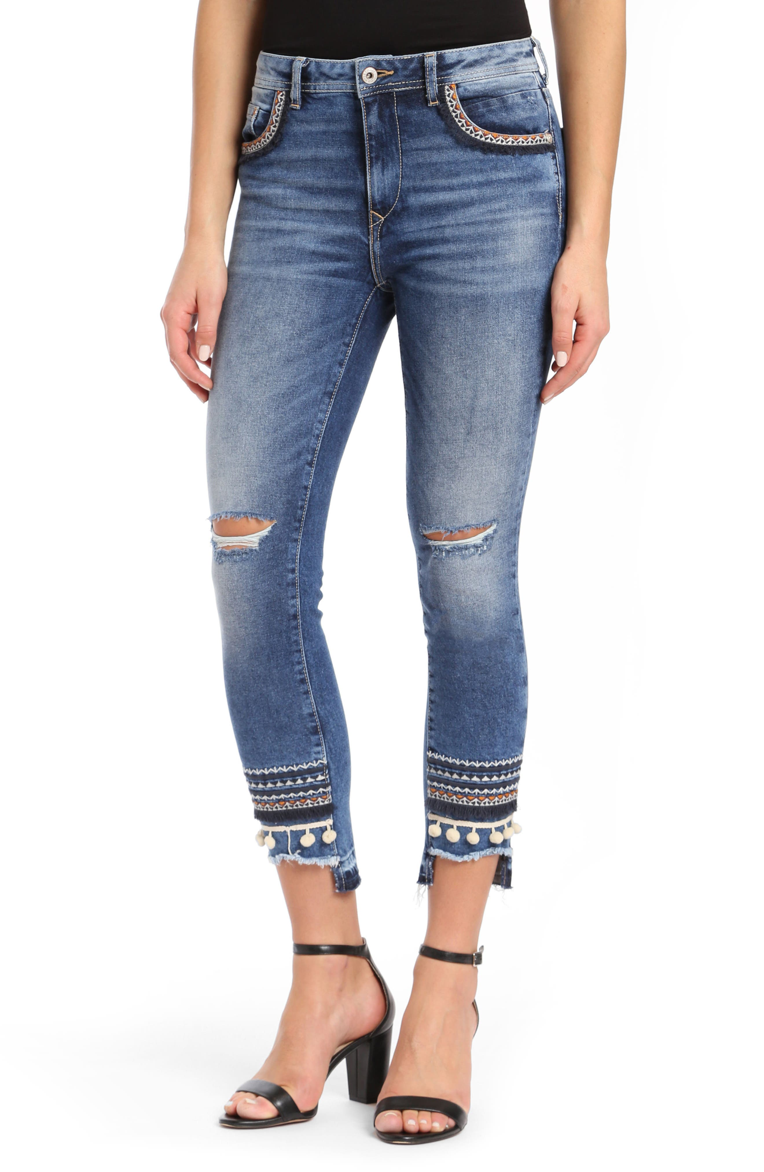 Tess Super Skinny Pompom Jeans,                             Main thumbnail 1, color,                             Dark Desert Deco