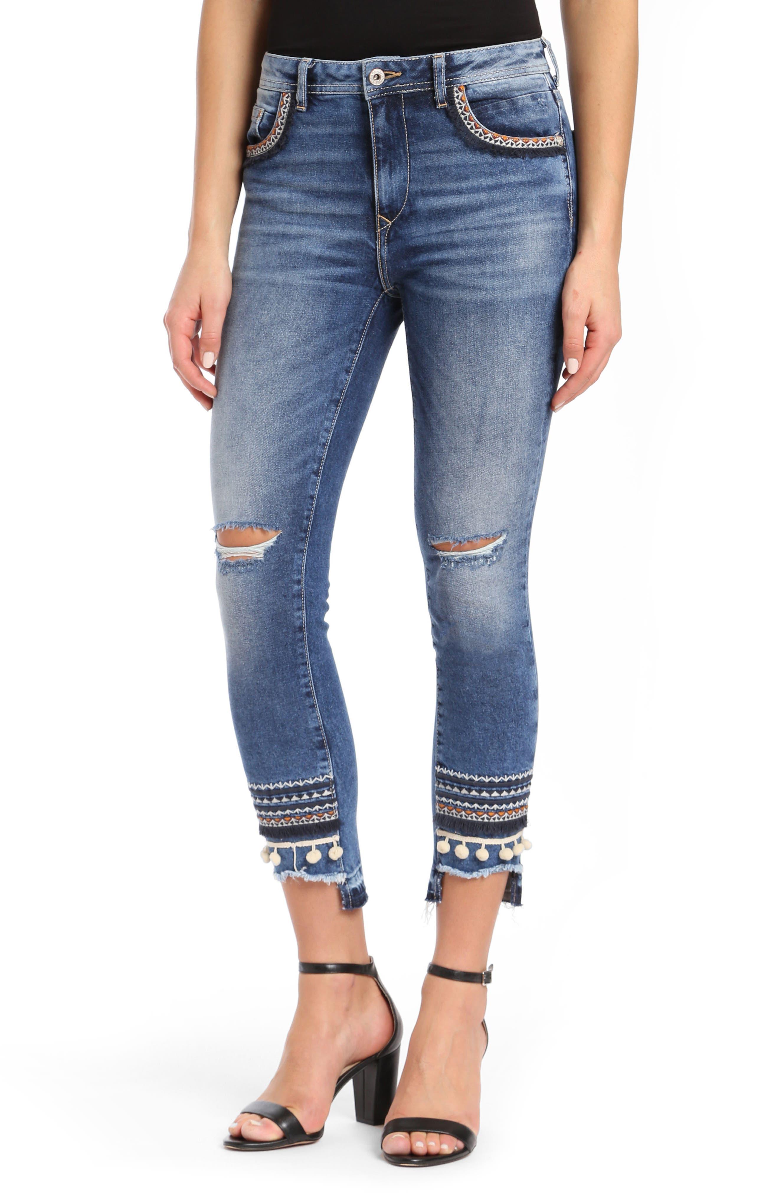Tess Super Skinny Pompom Jeans,                         Main,                         color, Dark Desert Deco
