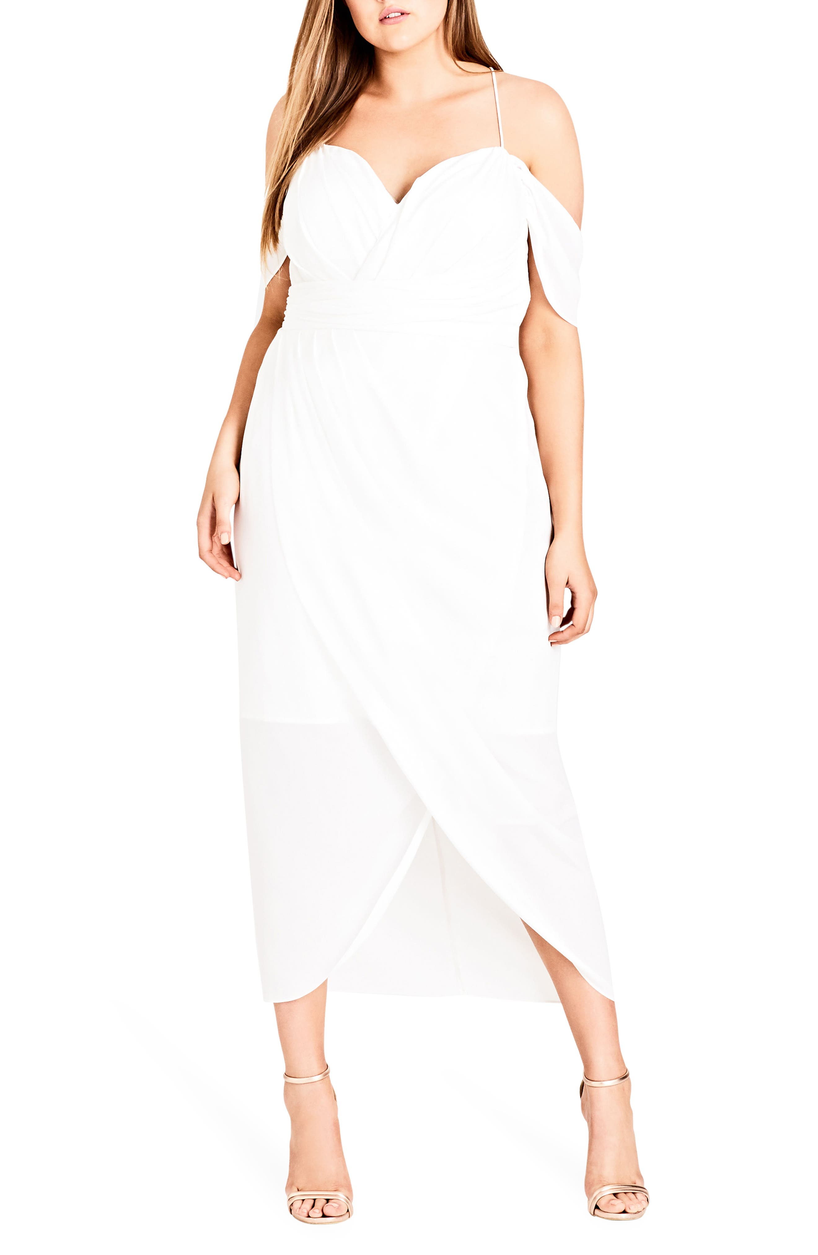 Alternate Image 1 Selected - City Chic Entwine Off the Shoulder Maxi Dress (Plus Size)