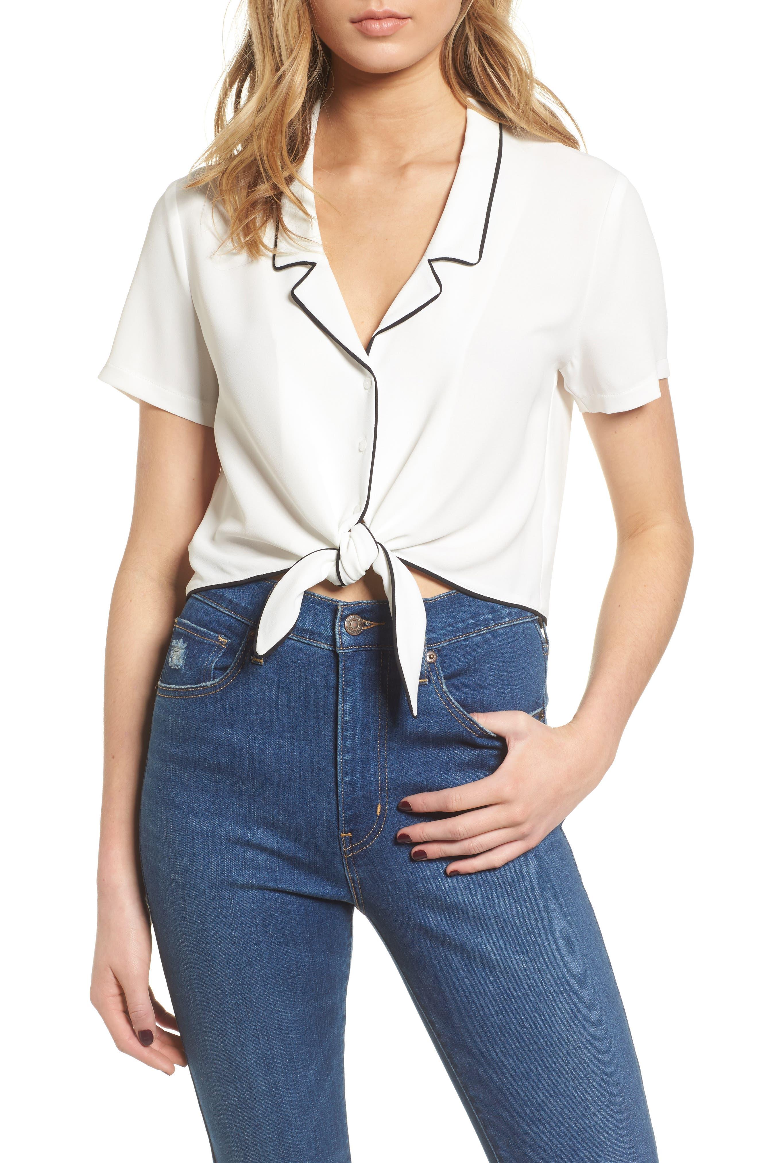 Tie Front Button-Up Shirt,                         Main,                         color, White/ Black