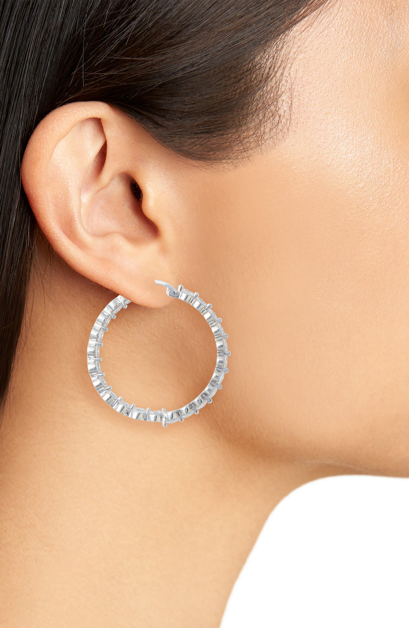 Large Cubic Zirconia Hoop Earrings.,                             Alternate thumbnail 2, color,                             Silver/ White Cz