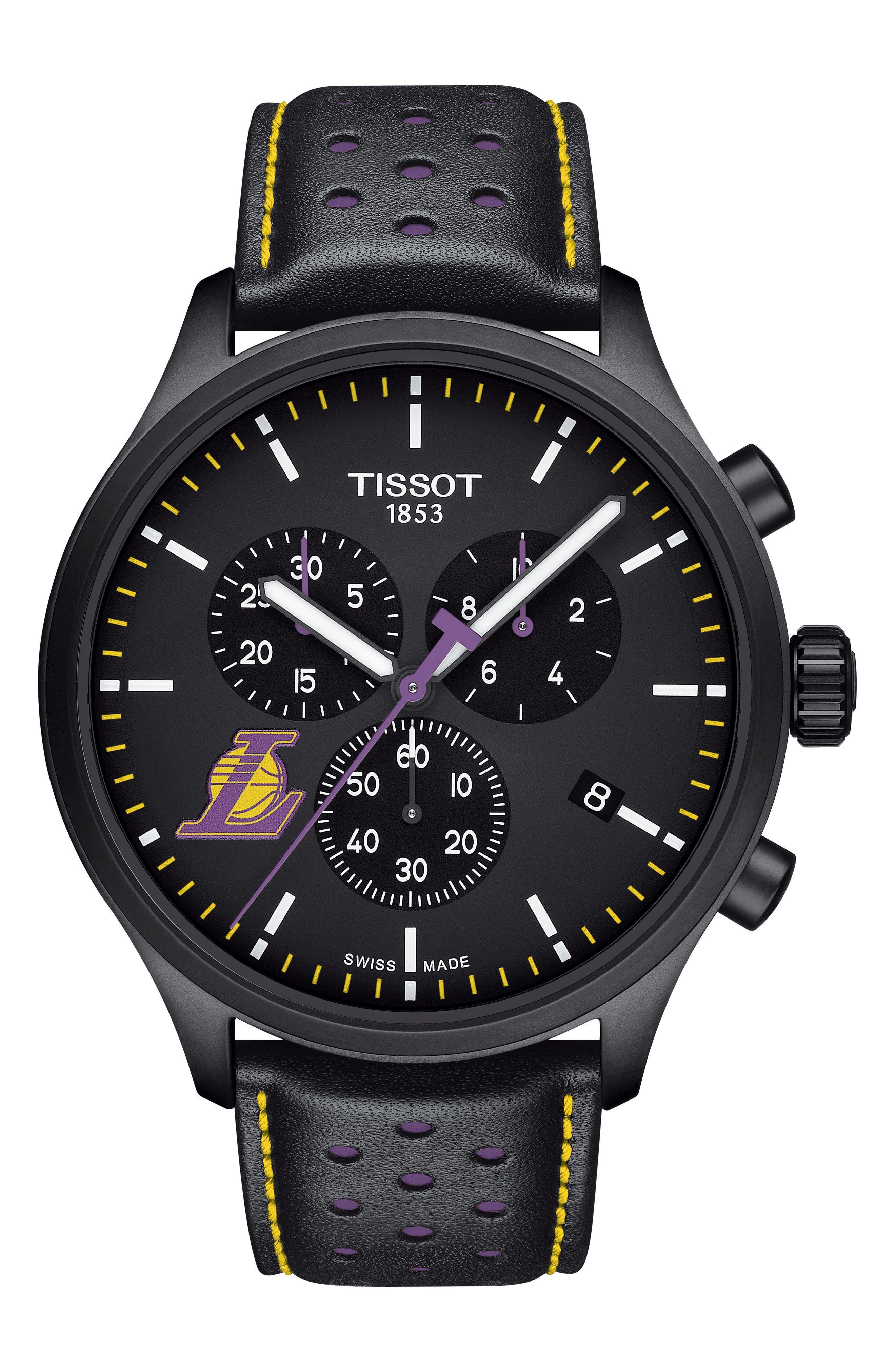 Chrono XL NBA Leather Strap Watch, 45mm,                         Main,                         color, Black/ Purple/ Yellow
